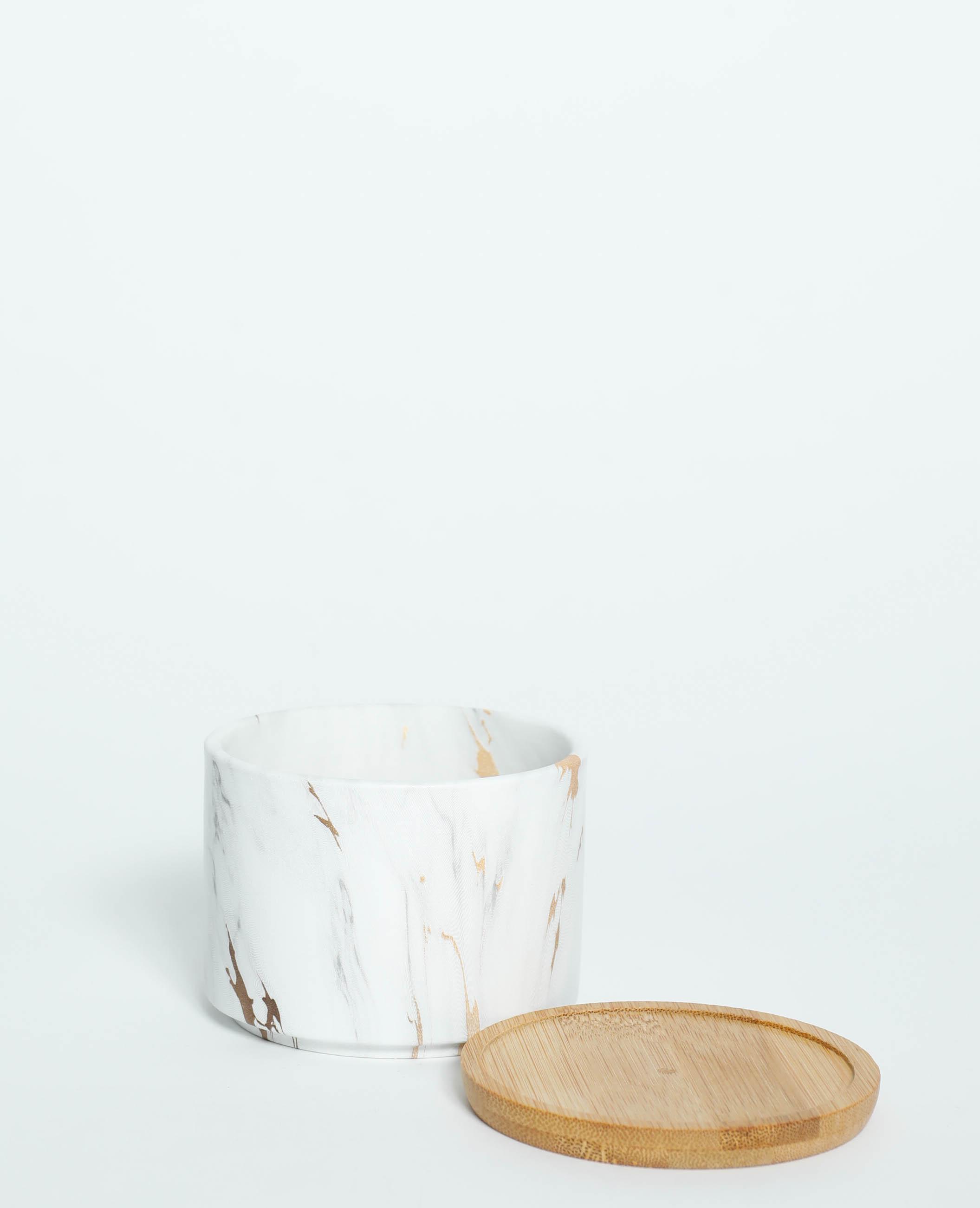 Pot marbré avec soucoupe bois blanc - Pimkie