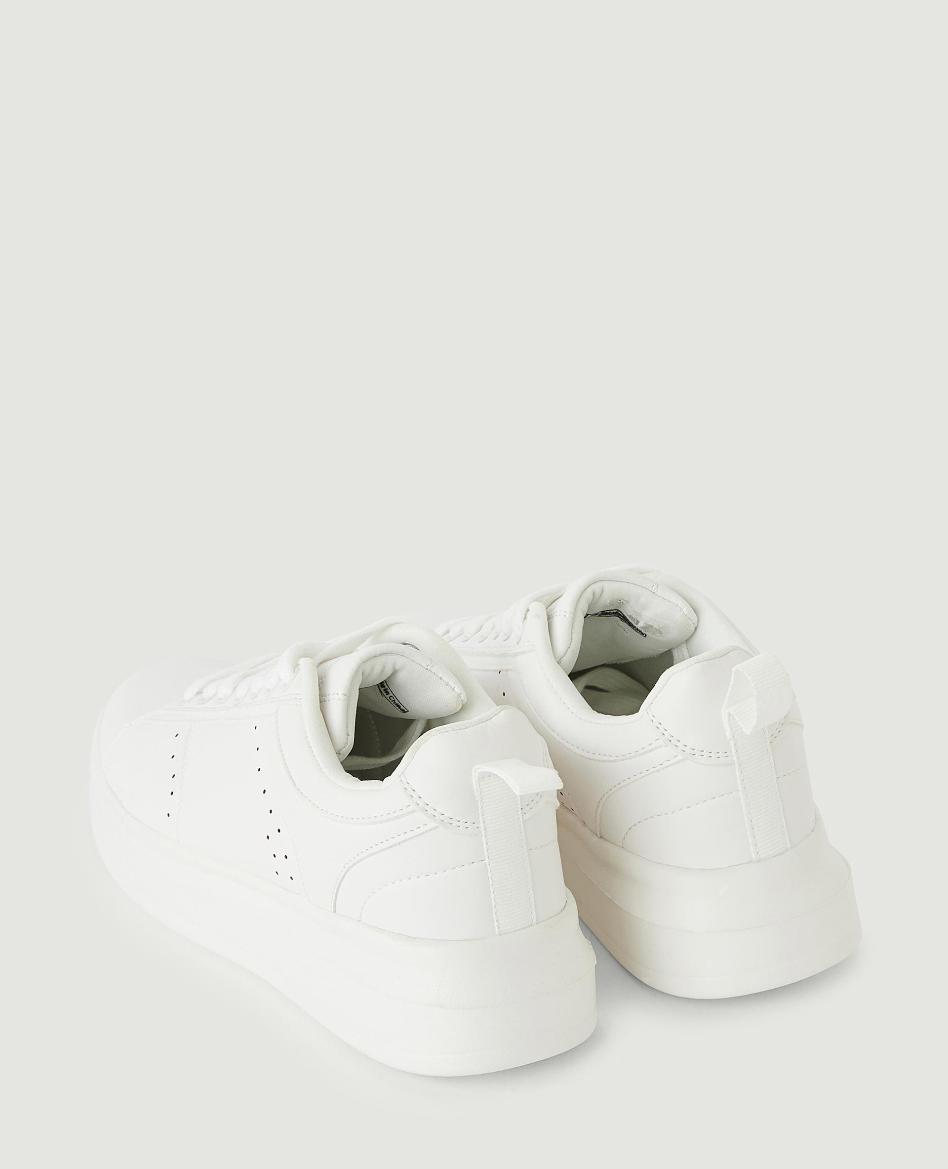 Baskets simili cuir à plateforme blanc - Pimkie