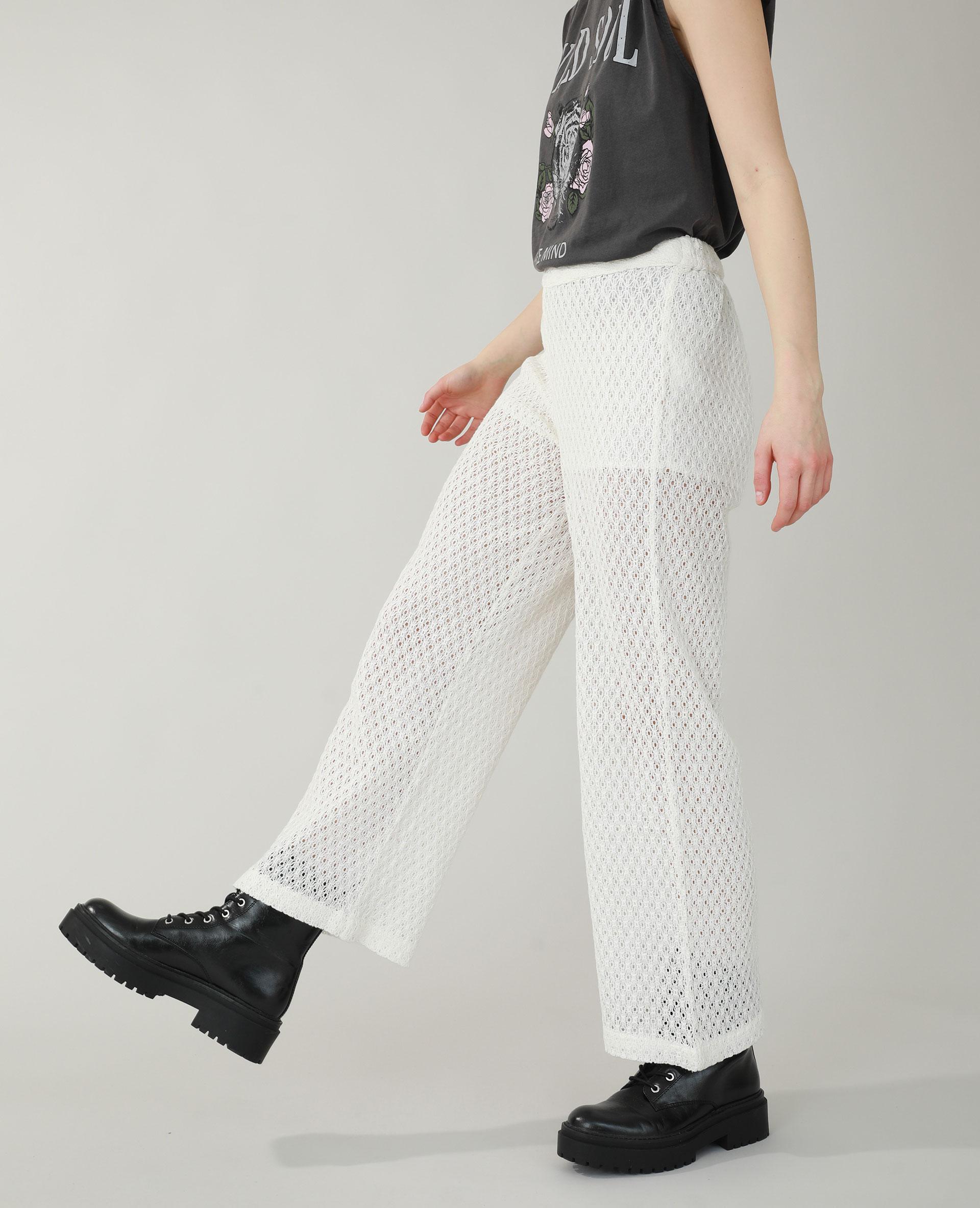 Pantalon en crochet blanc cassé - Pimkie
