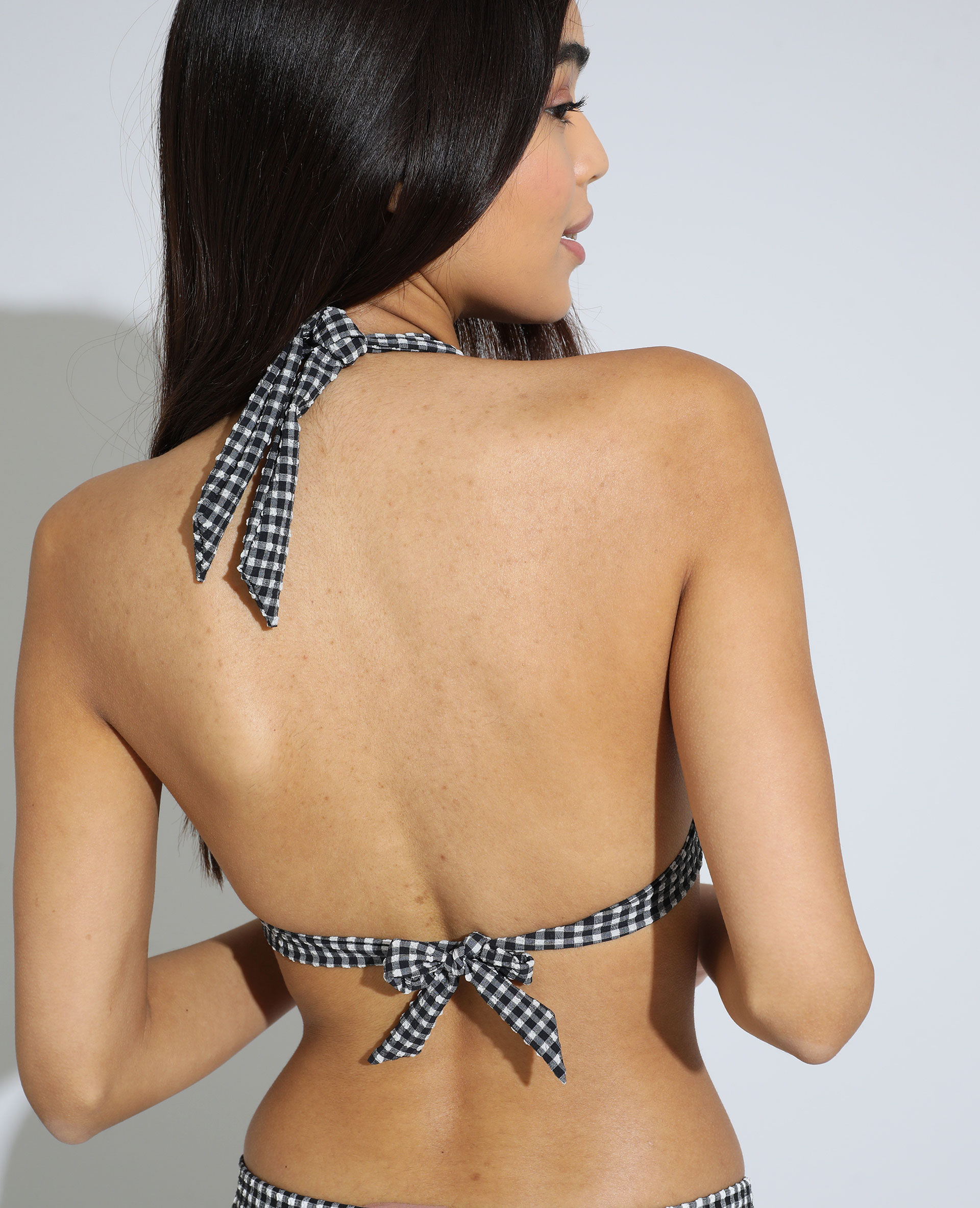 Haut de maillot de bain triangle à carreaux texturé noir - Pimkie
