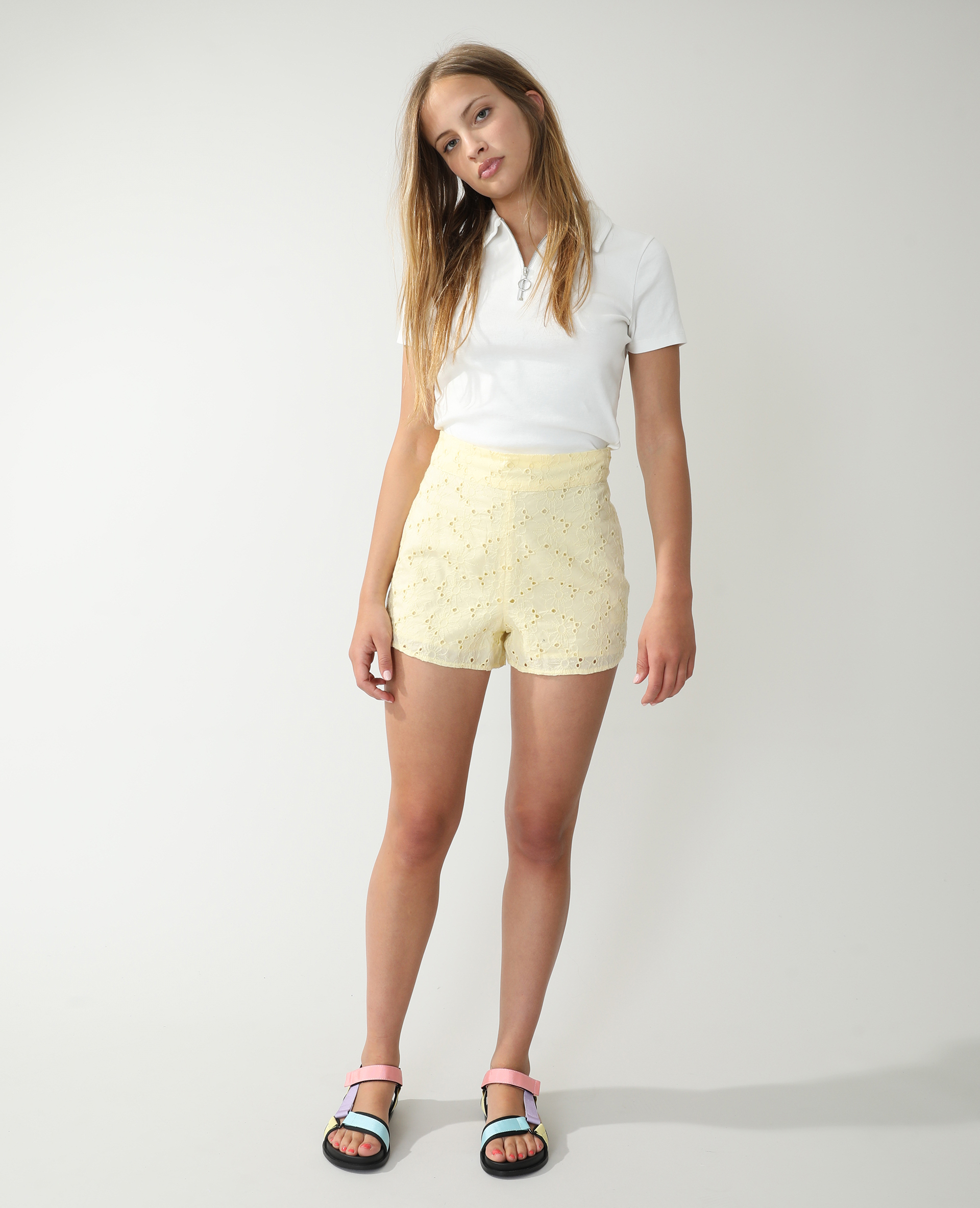 Short broderie anglaise beige - Pimkie