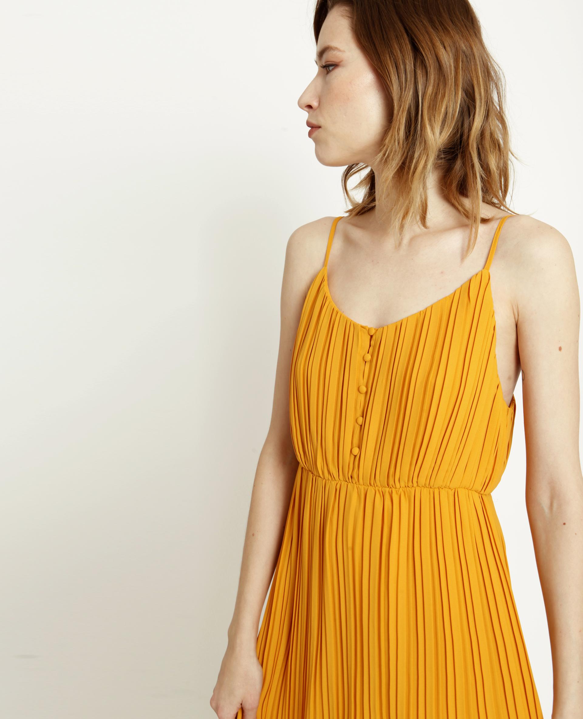 Robe longue plissée jaune - Pimkie