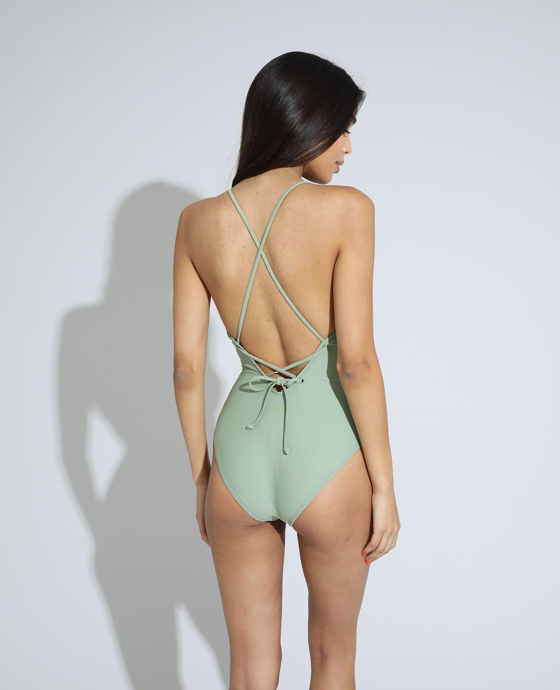 Maillot de bain une pièce dos nu avec laçage vert clair - Pimkie