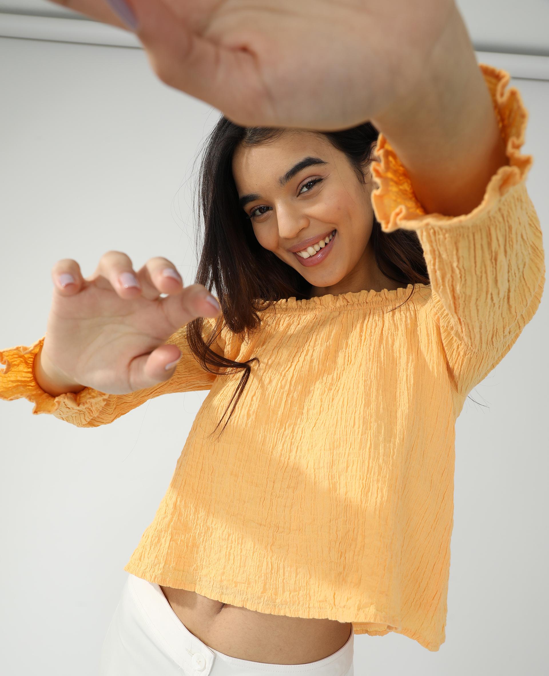 Blouse froncée orange - Pimkie