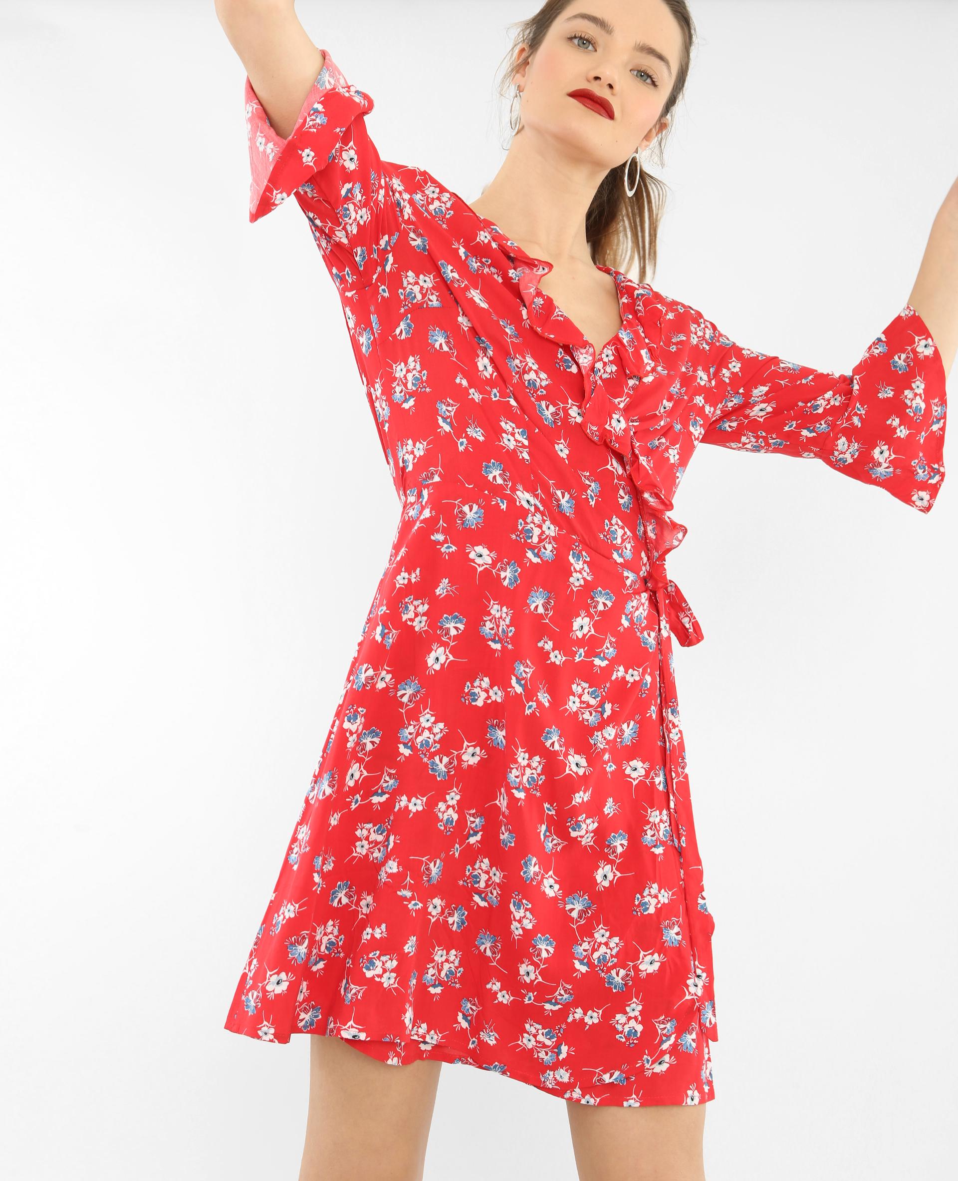 robe portefeuille volant e rouge 780645342i99 pimkie. Black Bedroom Furniture Sets. Home Design Ideas