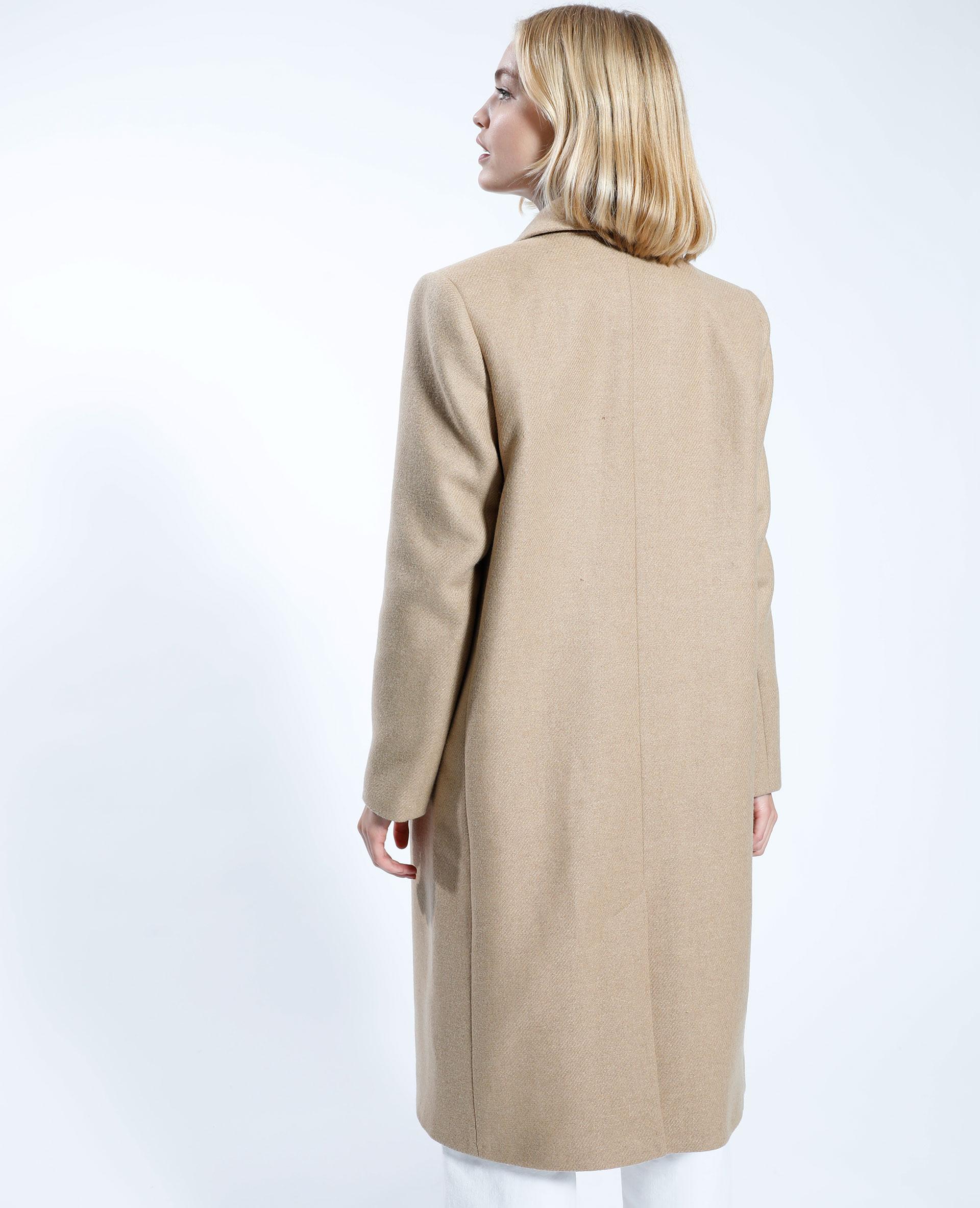 Manteau long avec 50% de laine camel - Pimkie