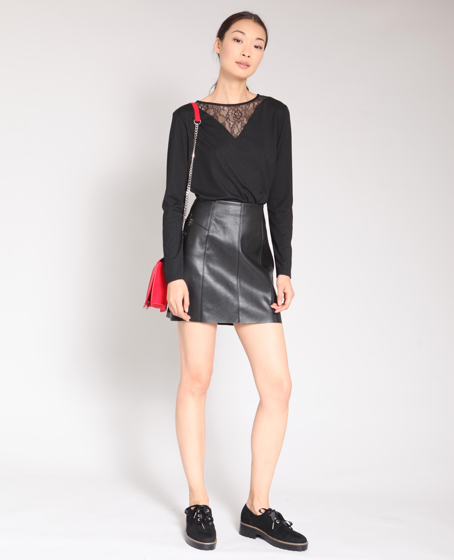 f3e46c656f686e Jupe en faux cuir noir - 690504899A08 | Pimkie