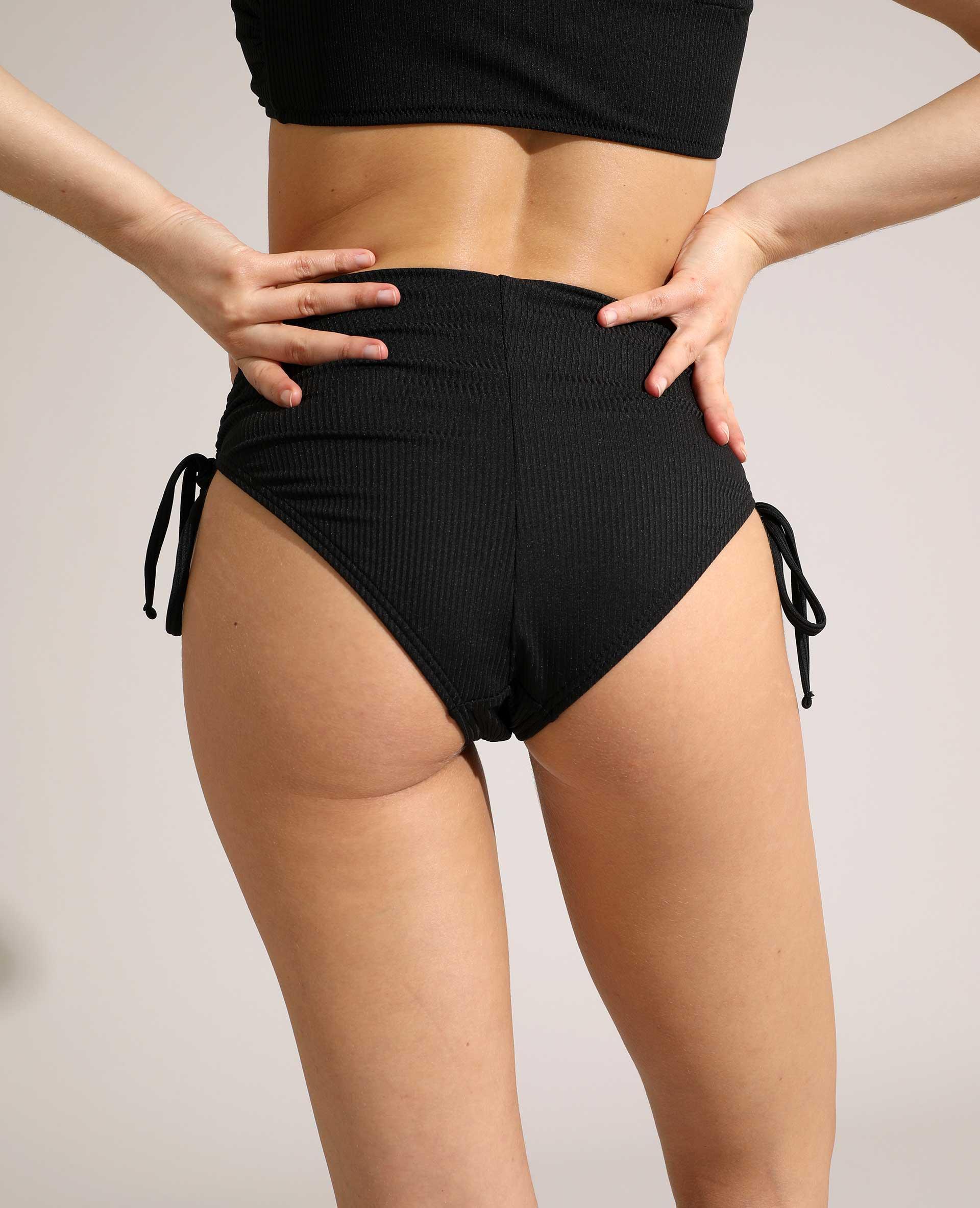 Bas de maillot de bain culotte côtelé noir - Pimkie