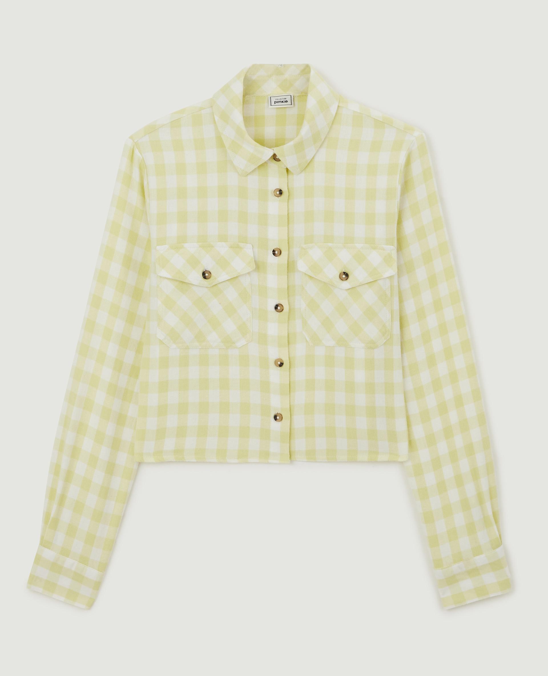 Chemise cropped à carreaux vert - Pimkie