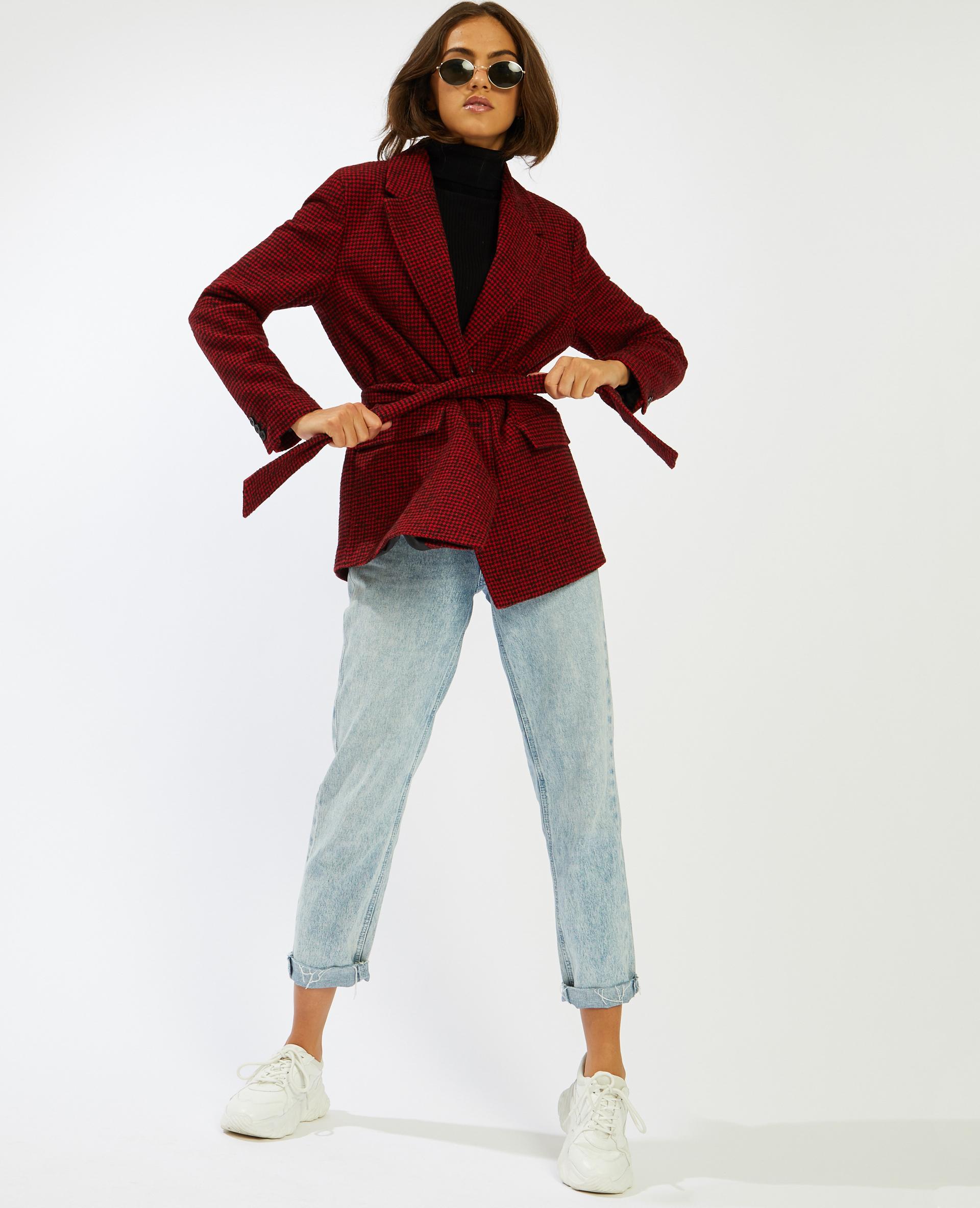 Veste avec ceinture à nouer rouge - Pimkie
