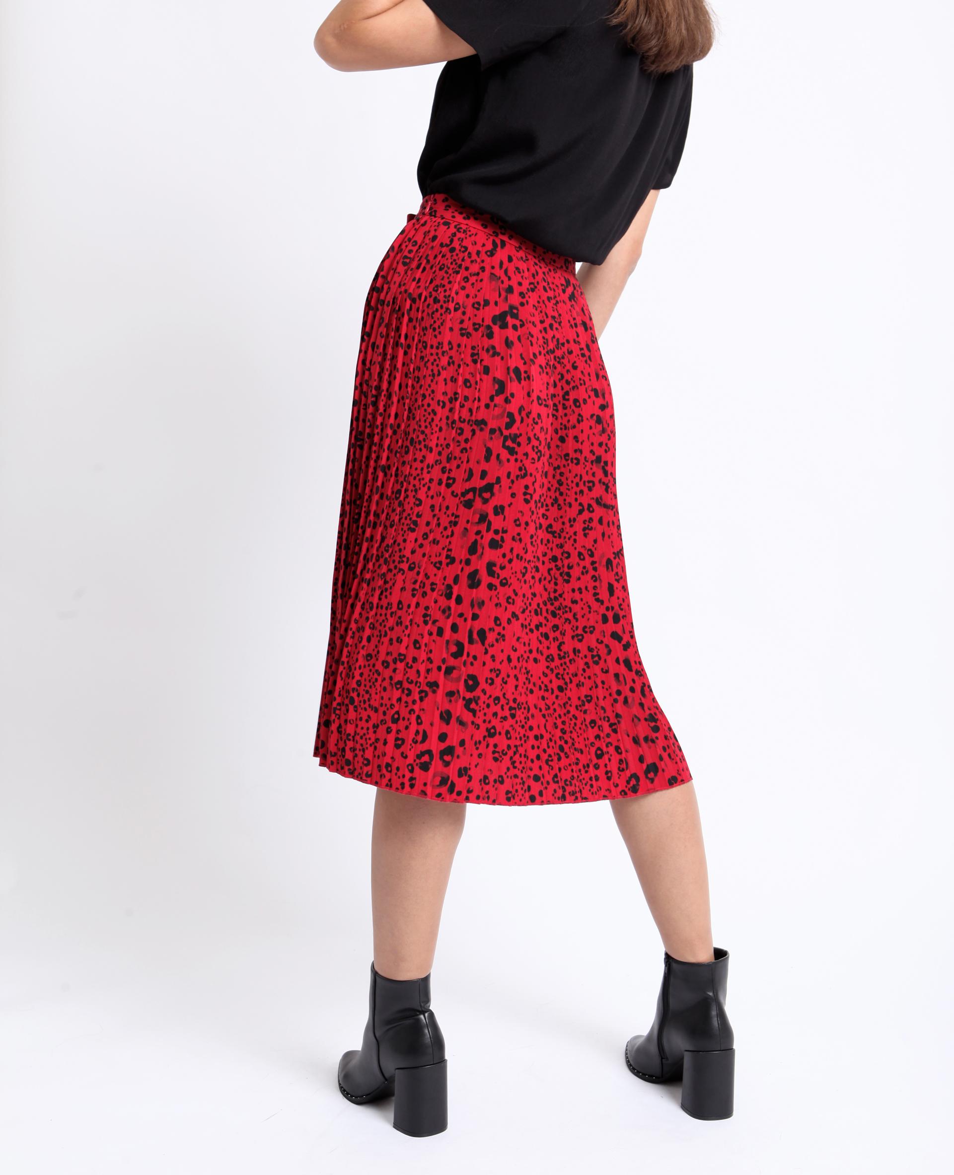 Jupe plissée léopard rouge - Pimkie