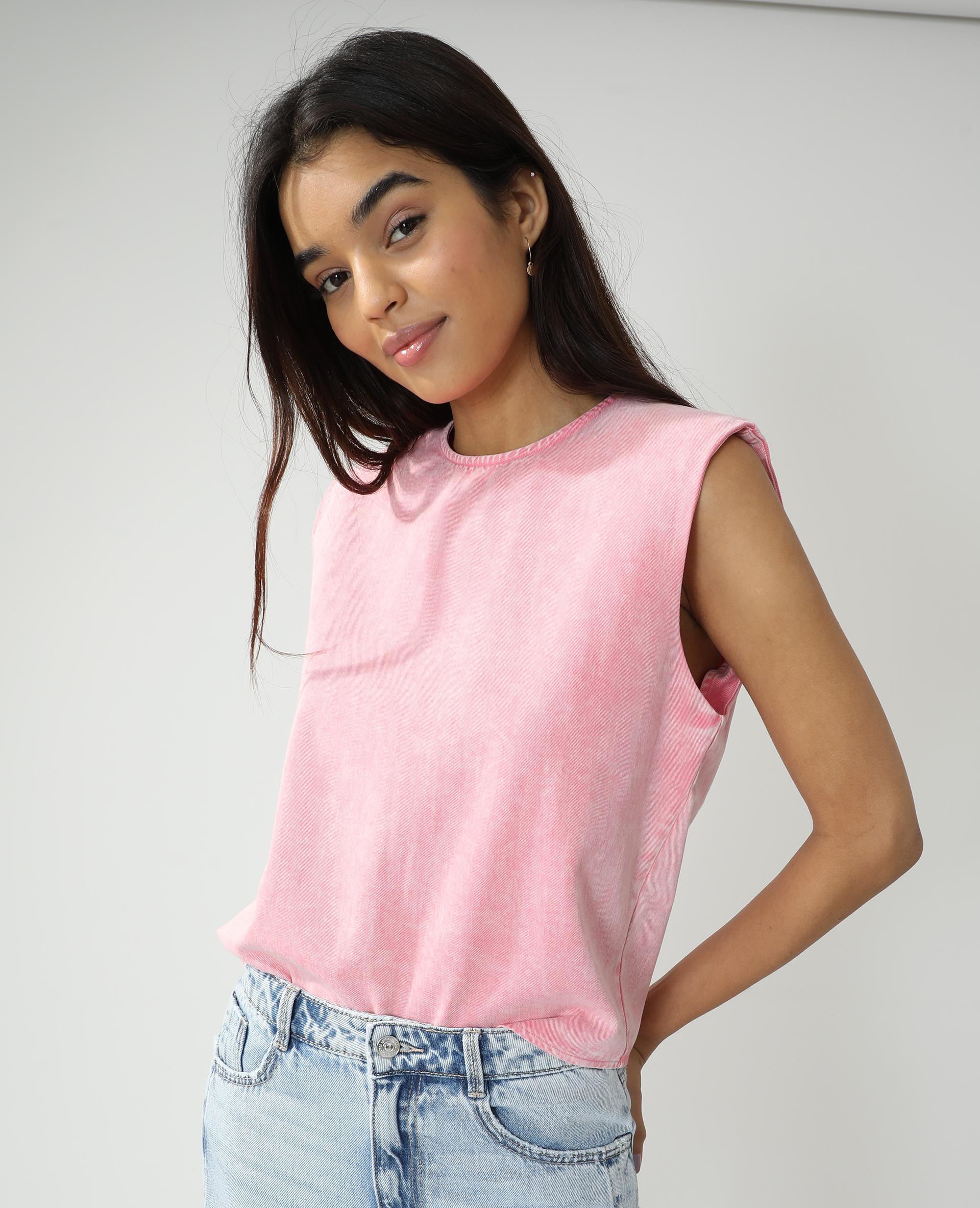 Top en jean à épaulettes rose pâle - Pimkie