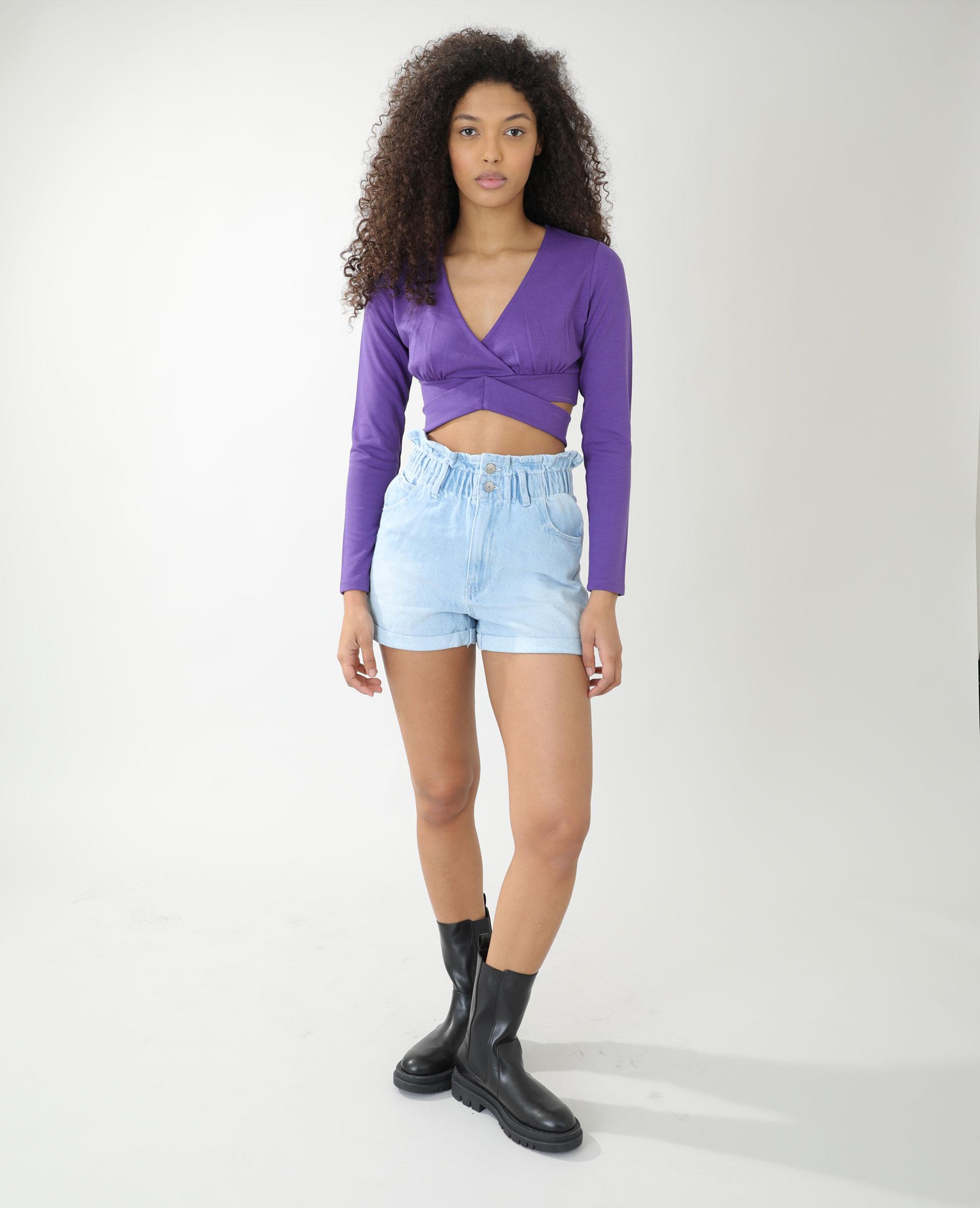 T-shirt cropped cache-cœur violet - Pimkie