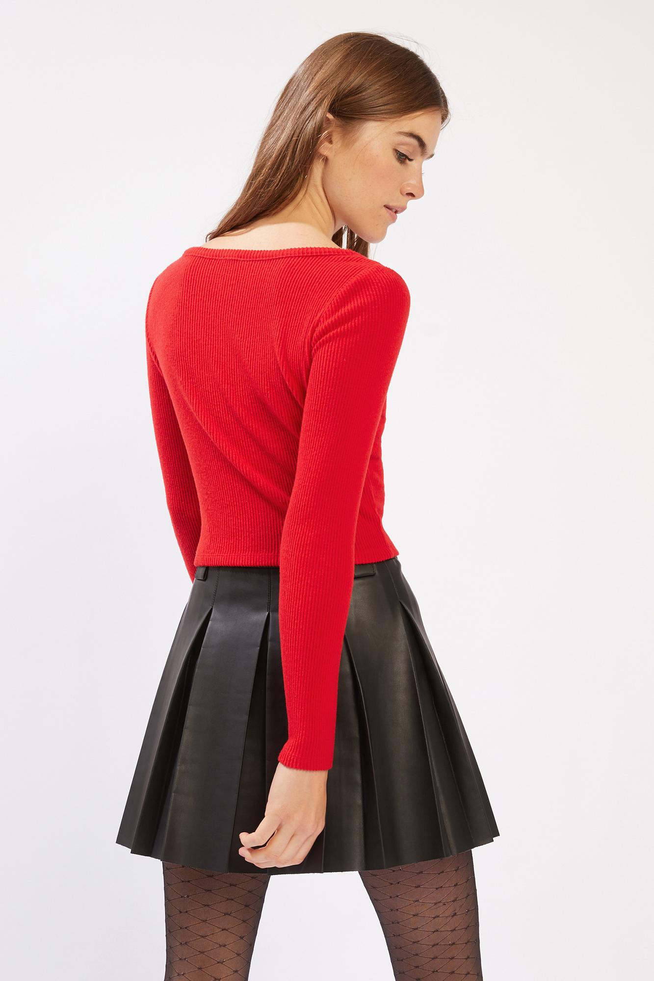 T-shirt côtelé cropped rouge - Pimkie