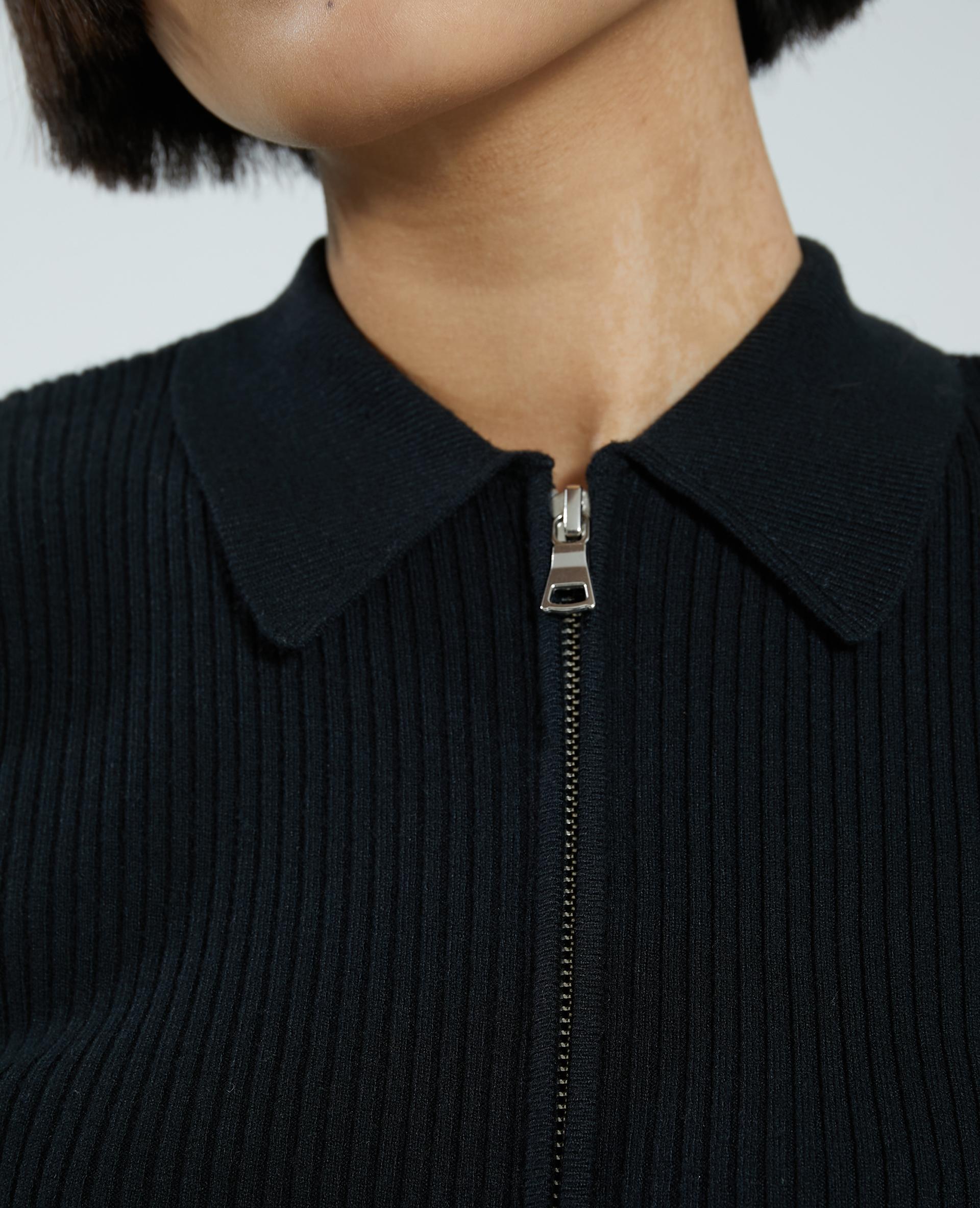 Gilet zippé fines côtes noir - Pimkie