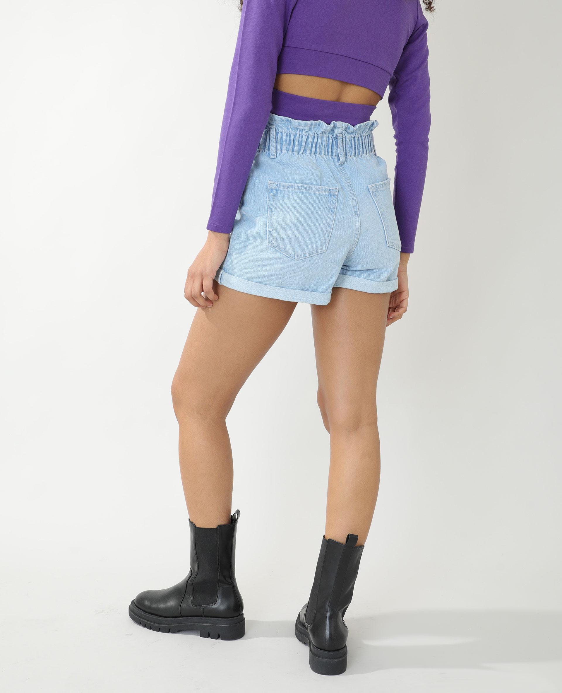 Short high waist en jean bleu délavé - Pimkie
