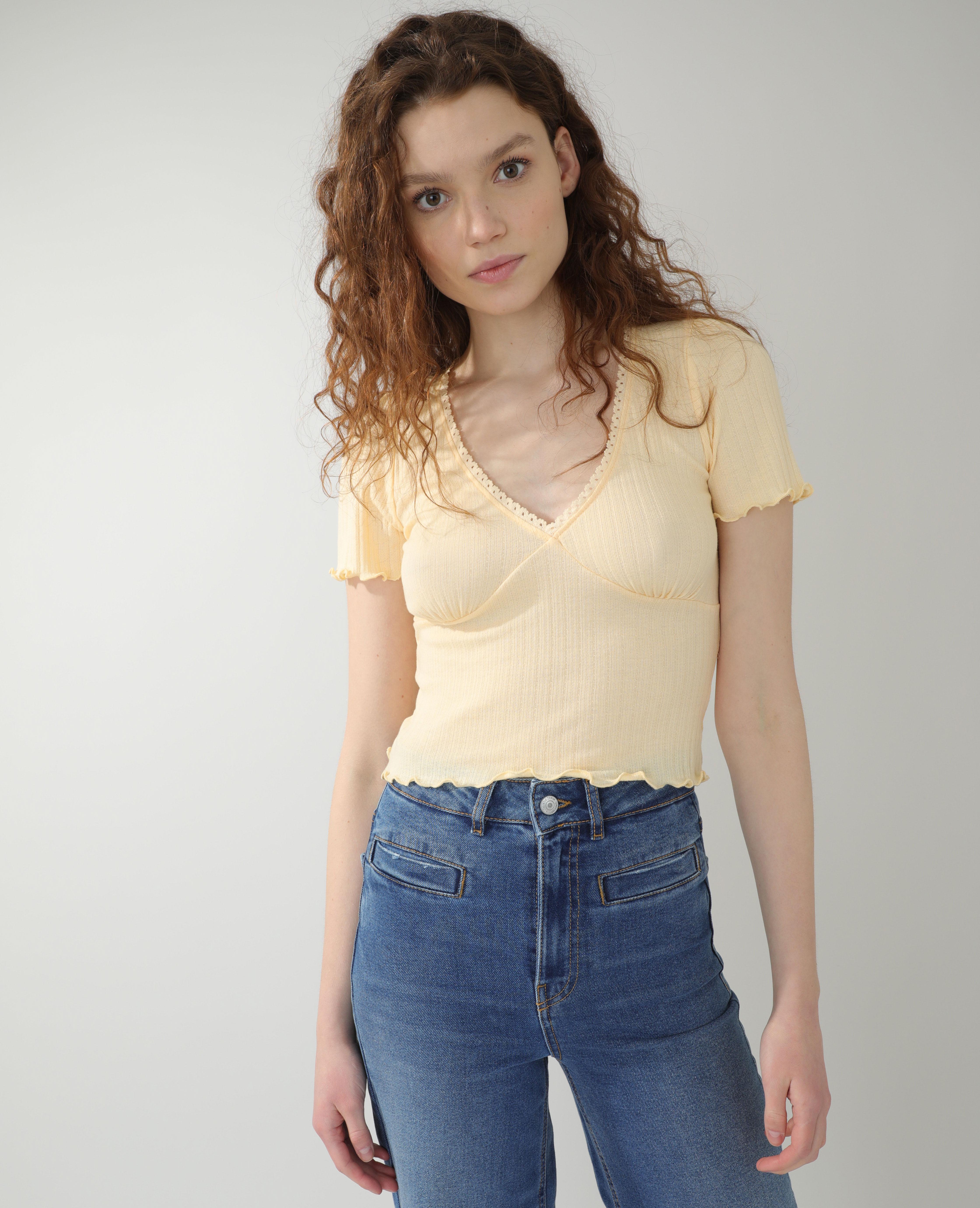 Top roulotté jaune pâle - Pimkie