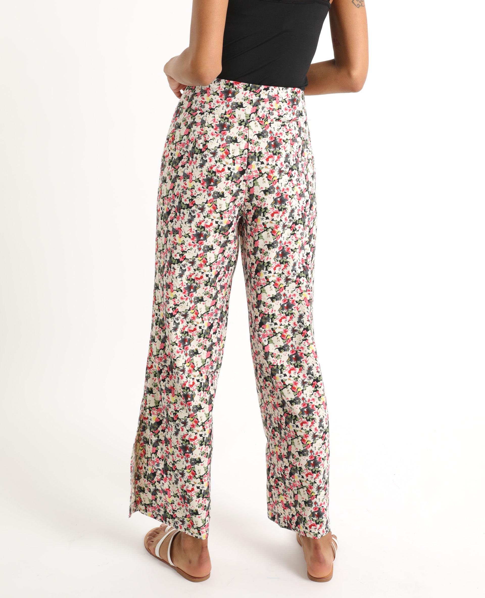 Pantalon fluide à fleurs noir - Pimkie