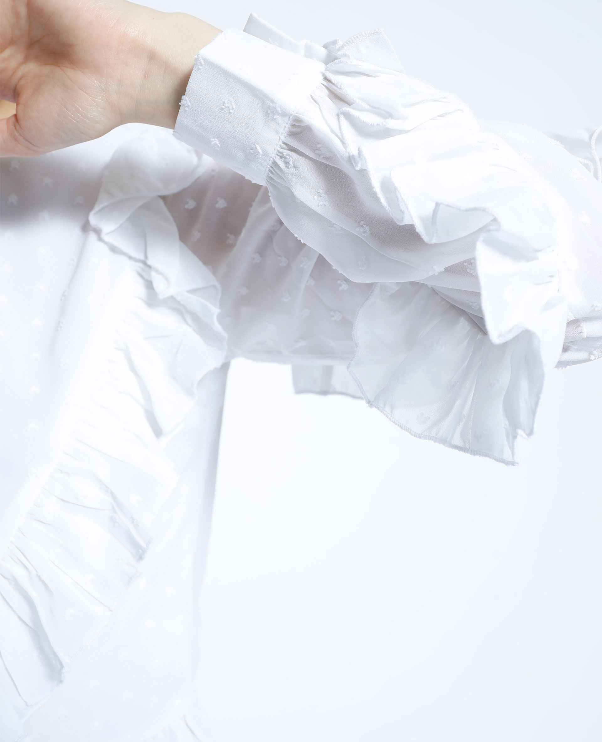 Chemise volantée à plumetis blanc - Pimkie