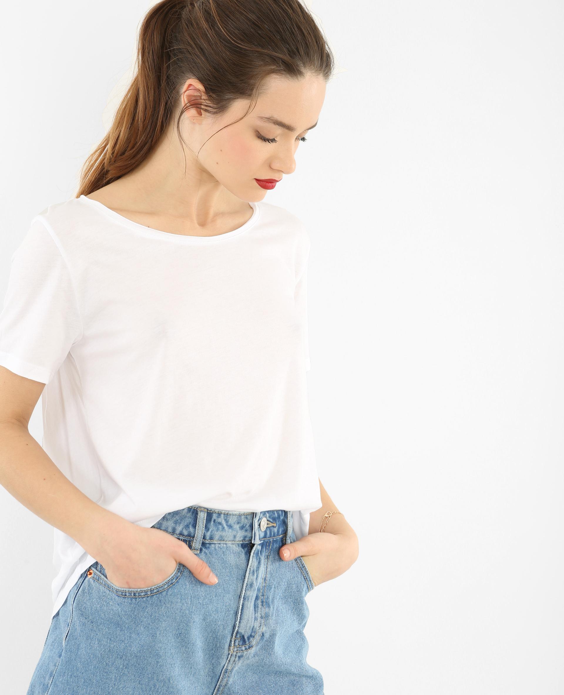 T-shirt col raw cut blanc cassé - Pimkie
