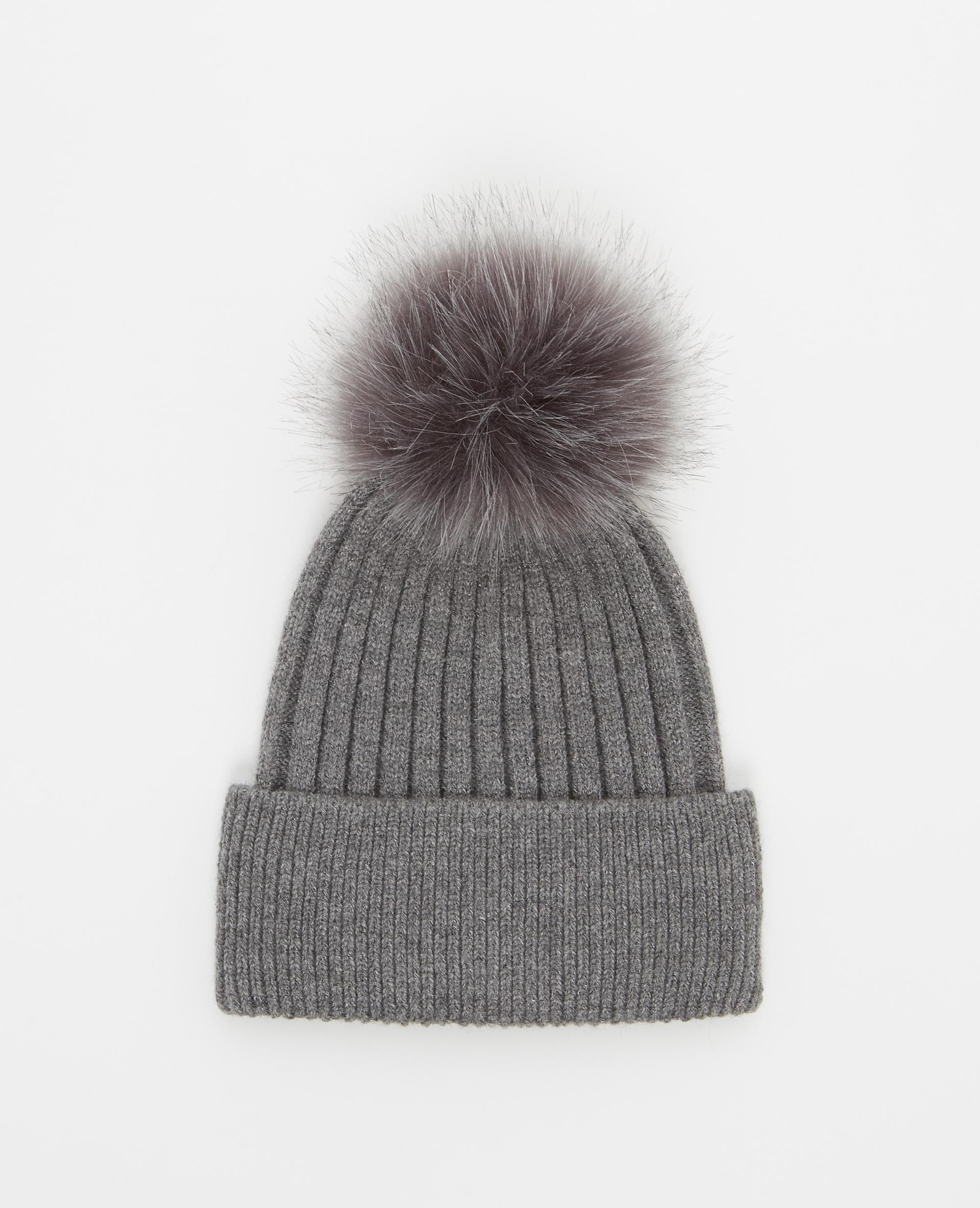 Bonnet à pompon gris foncé - Pimkie
