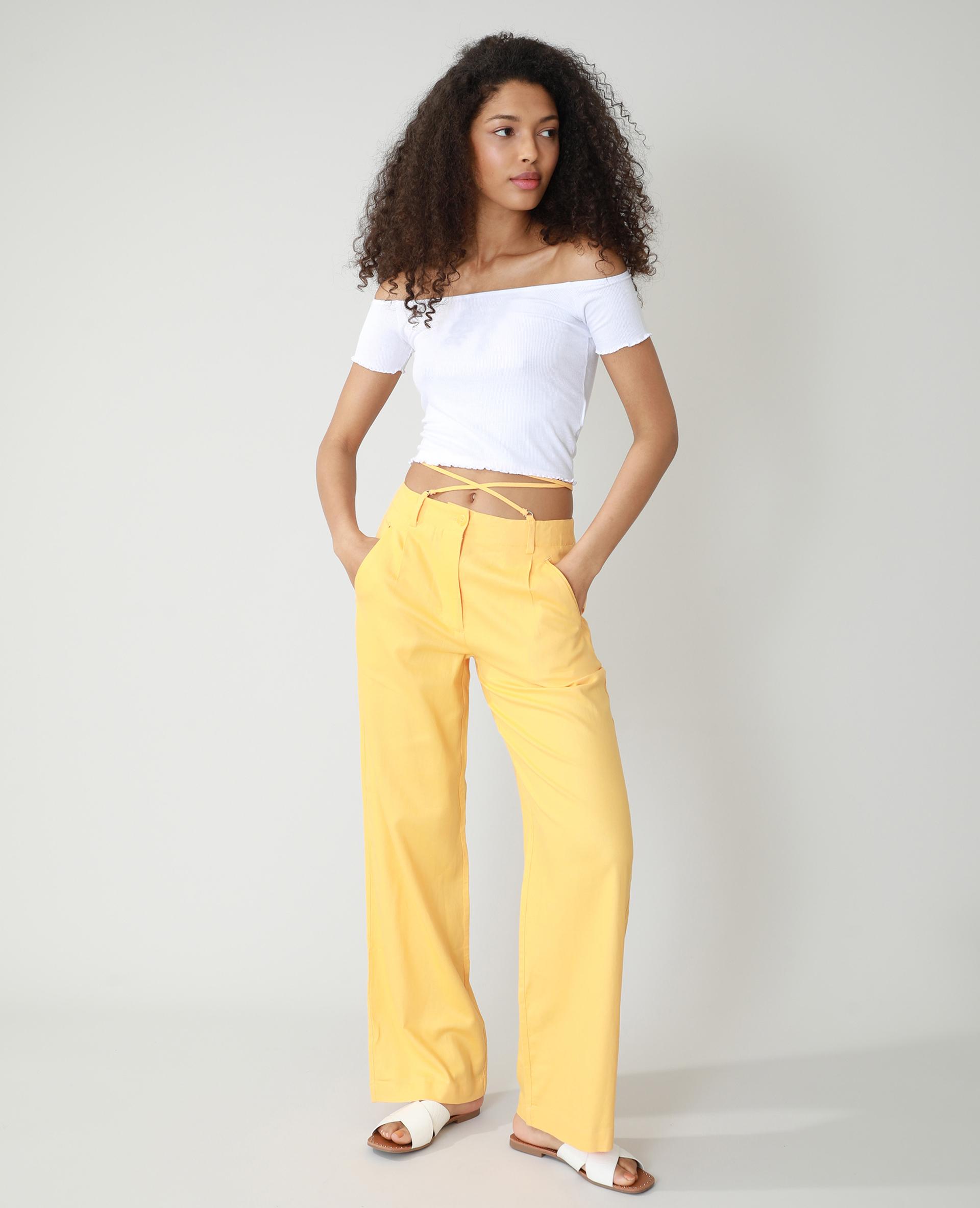 Pantalon wide leg high waist orange - Pimkie