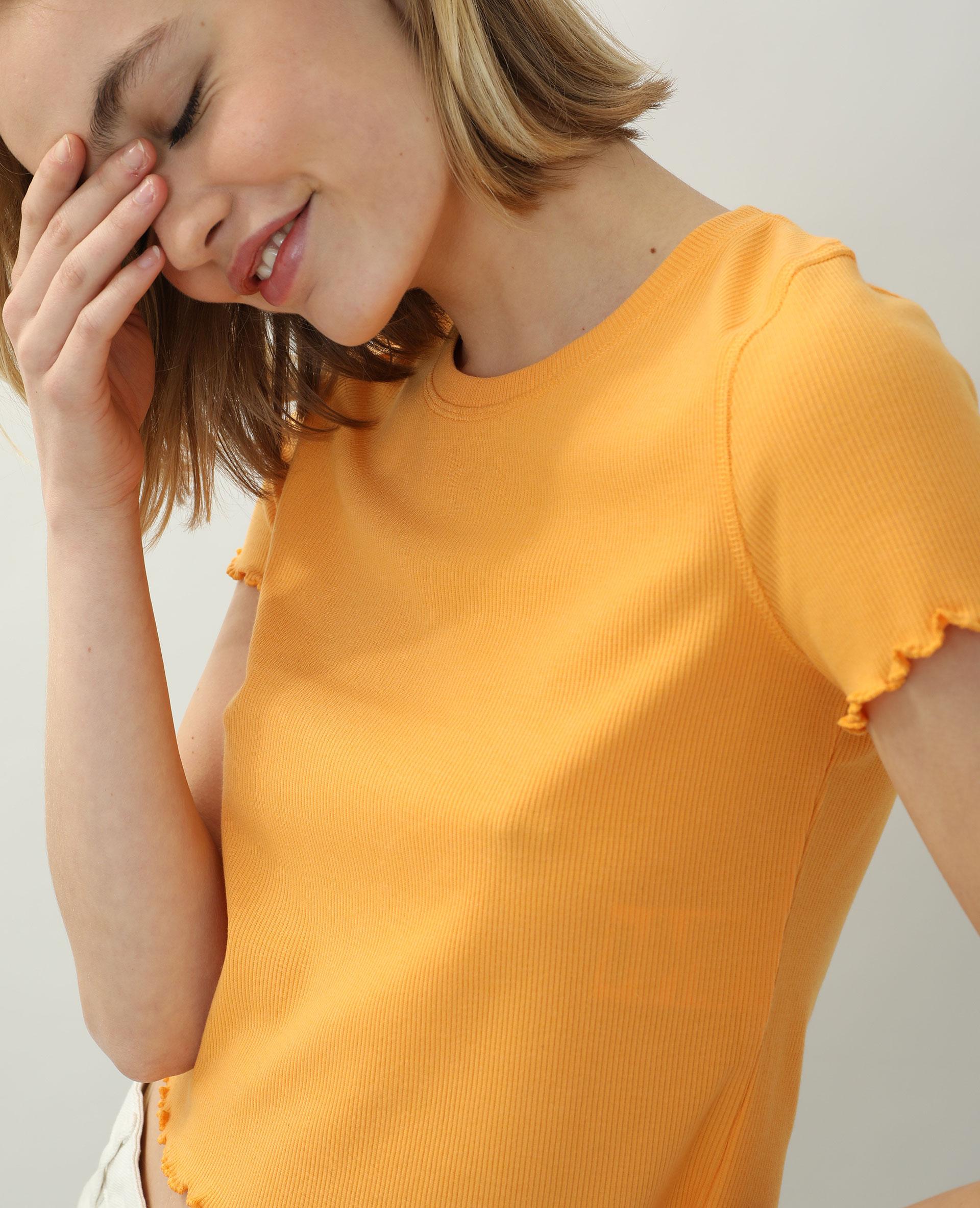 T-shirtcôtelé et volanté orange - Pimkie