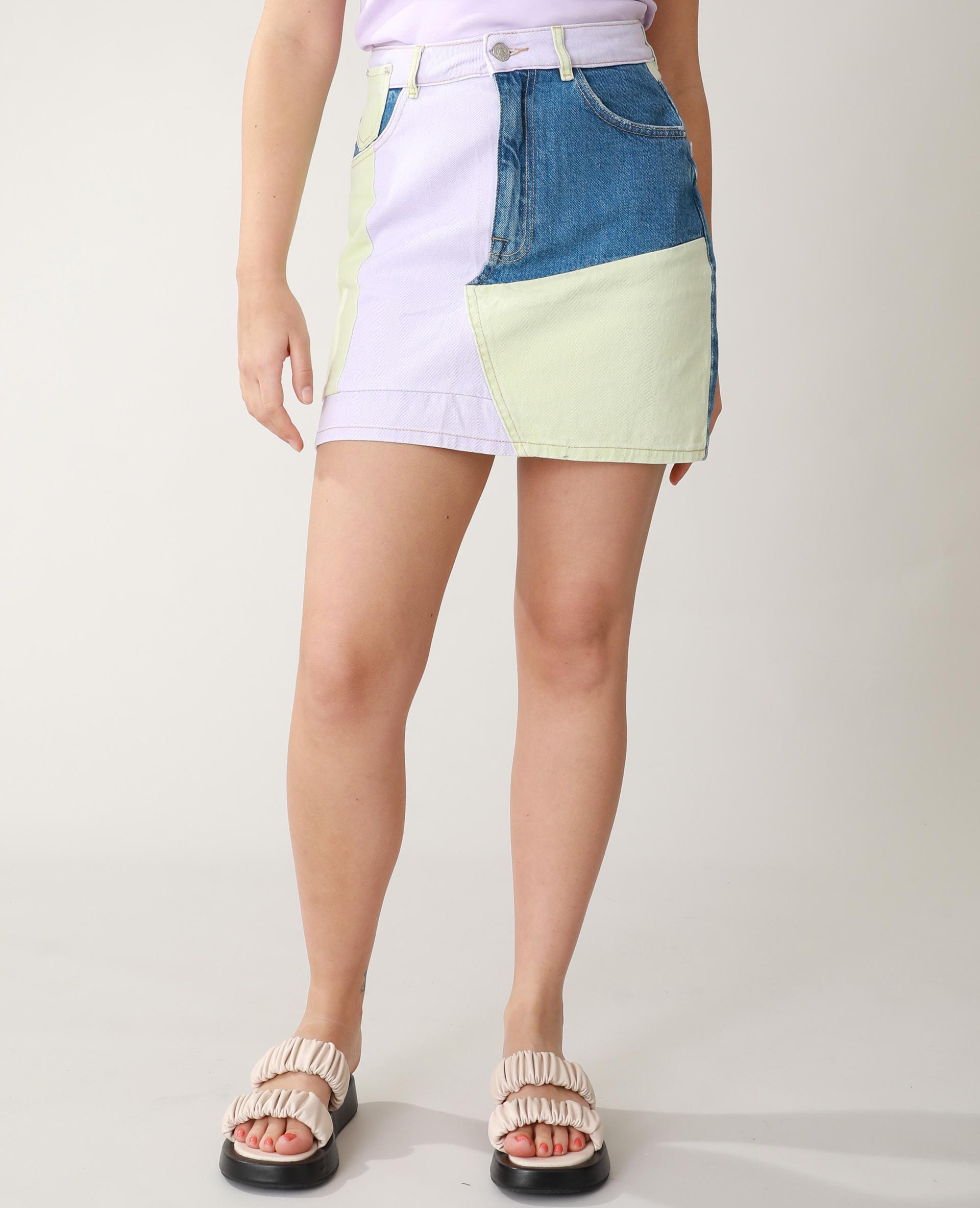 Jupe en jean patchwork violet - Pimkie