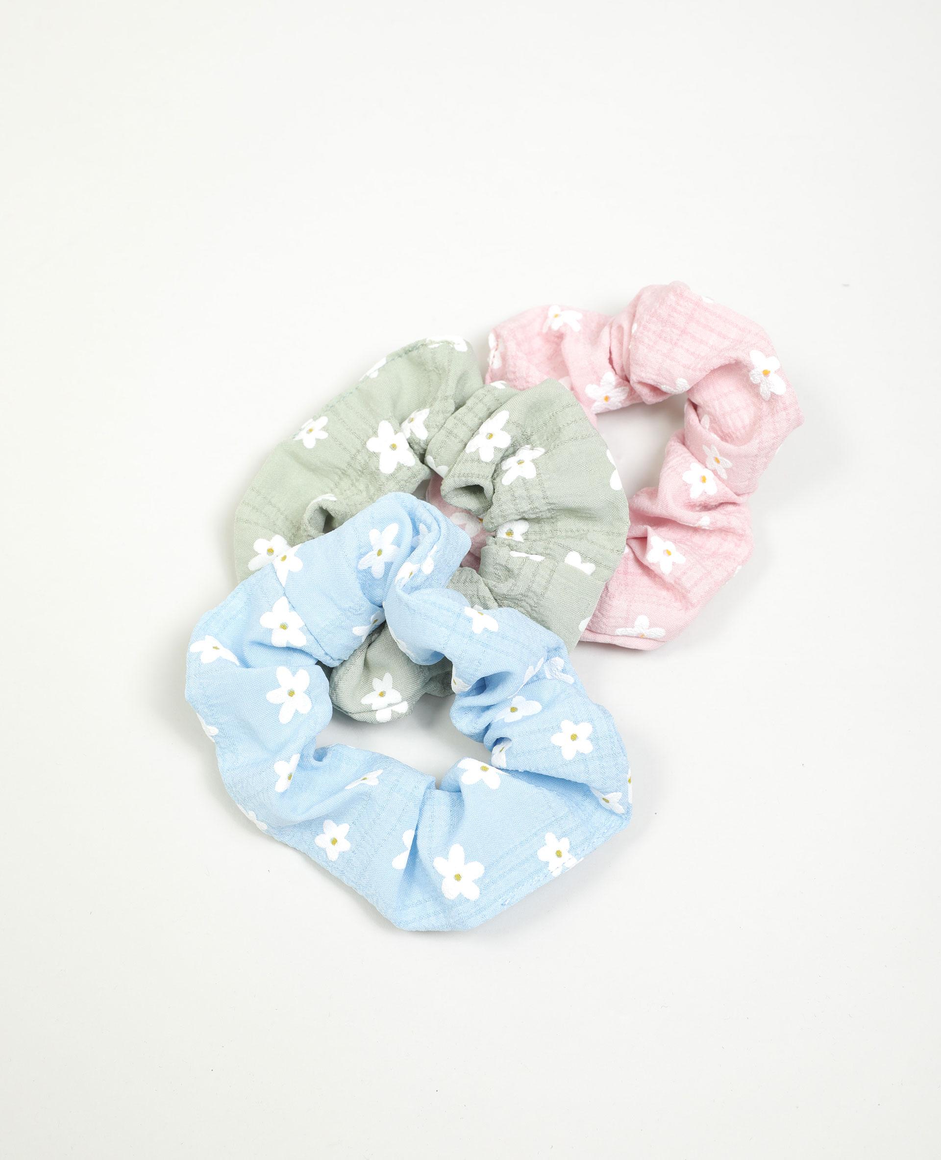 Lot de 3 chouchous à fleurs bleu - Pimkie