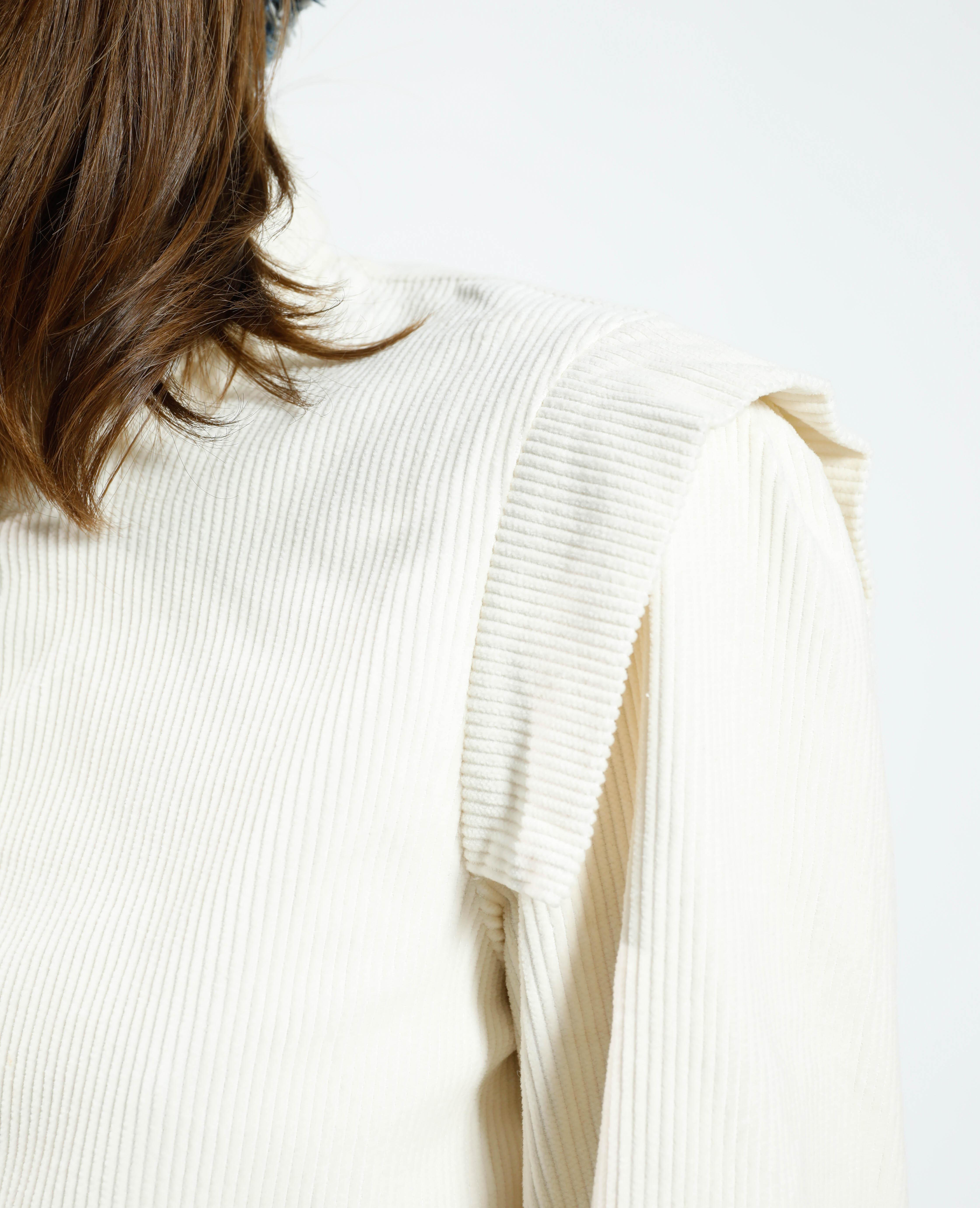 Chemise cropped en velours blanc - Pimkie