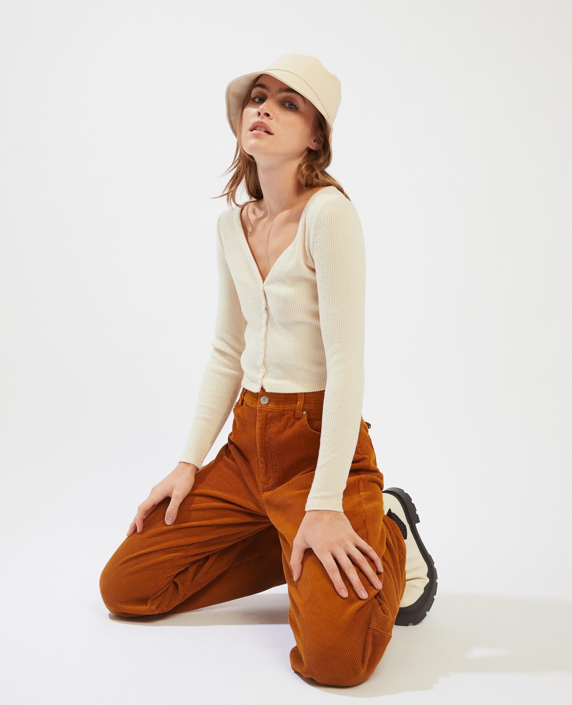 T-shirt côtelé cropped beige - Pimkie
