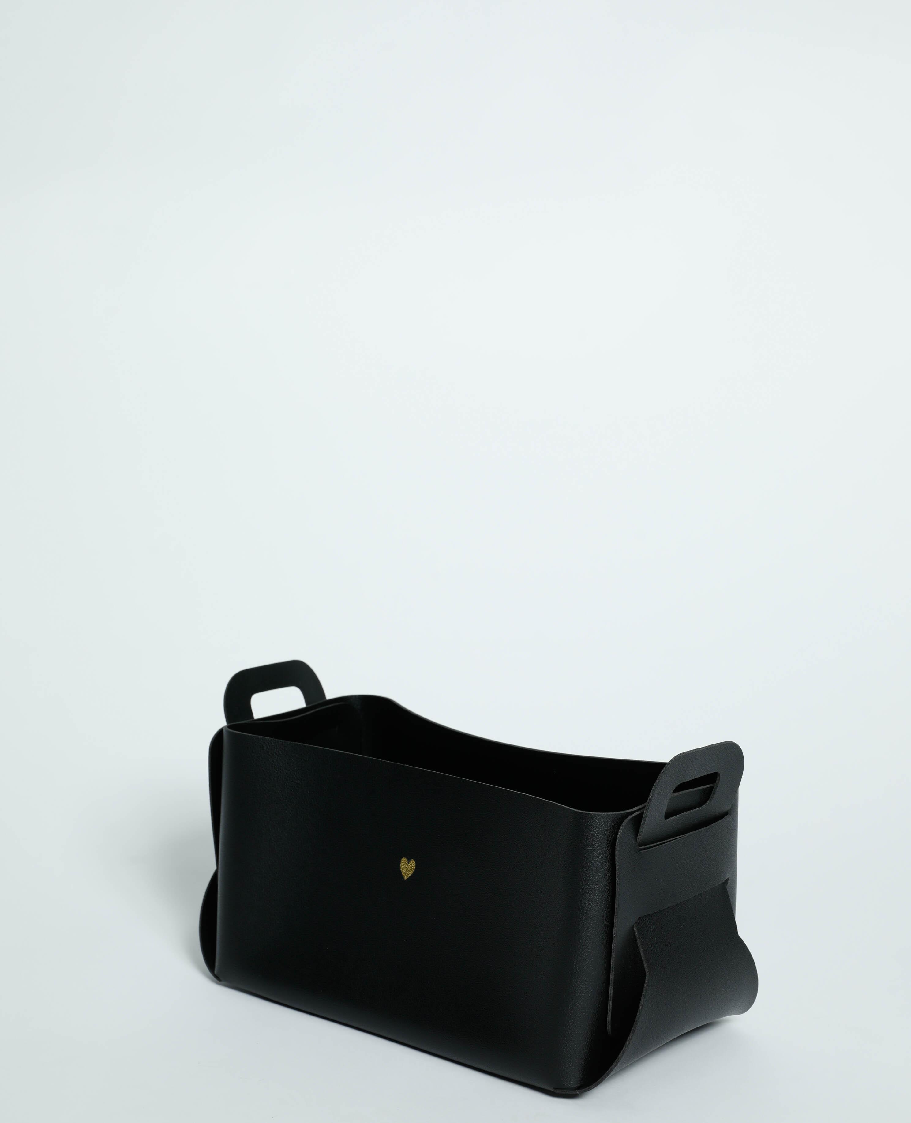 Grande box de rangement en simili cuir noir - Pimkie