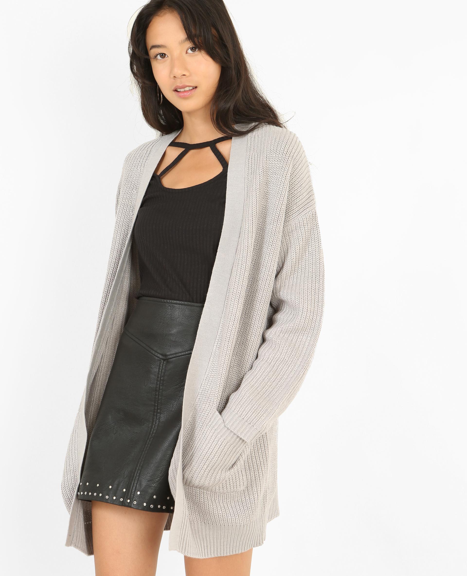 gilet Long poches chiné à gris w4XUPgq
