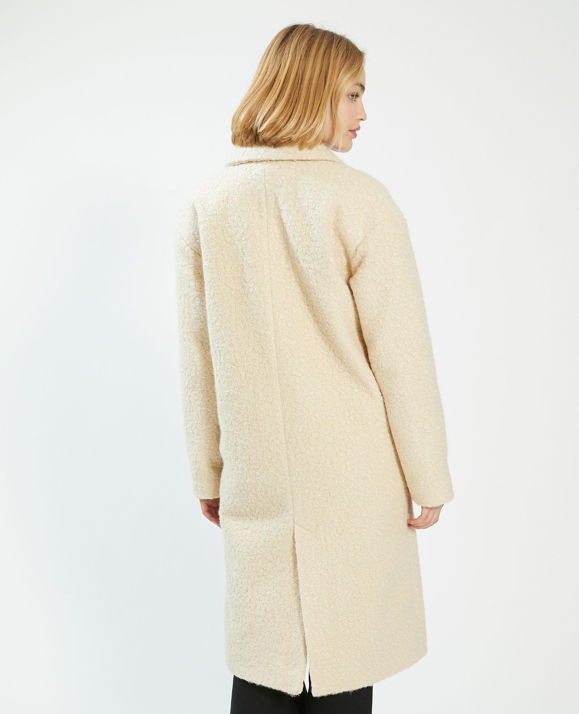 Manteau long bouclettes beige - Pimkie