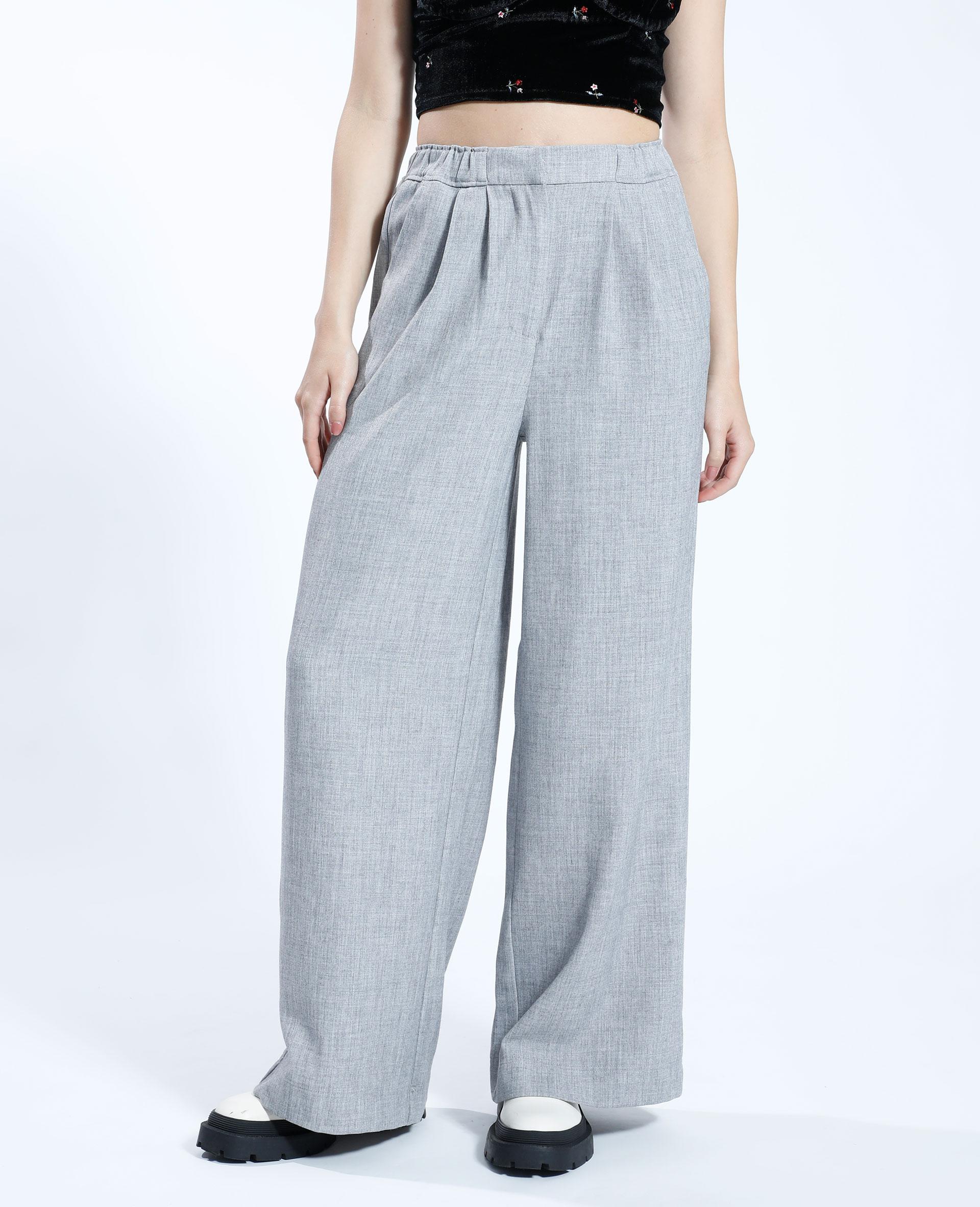 Pantalon wide leg gris chiné - Pimkie