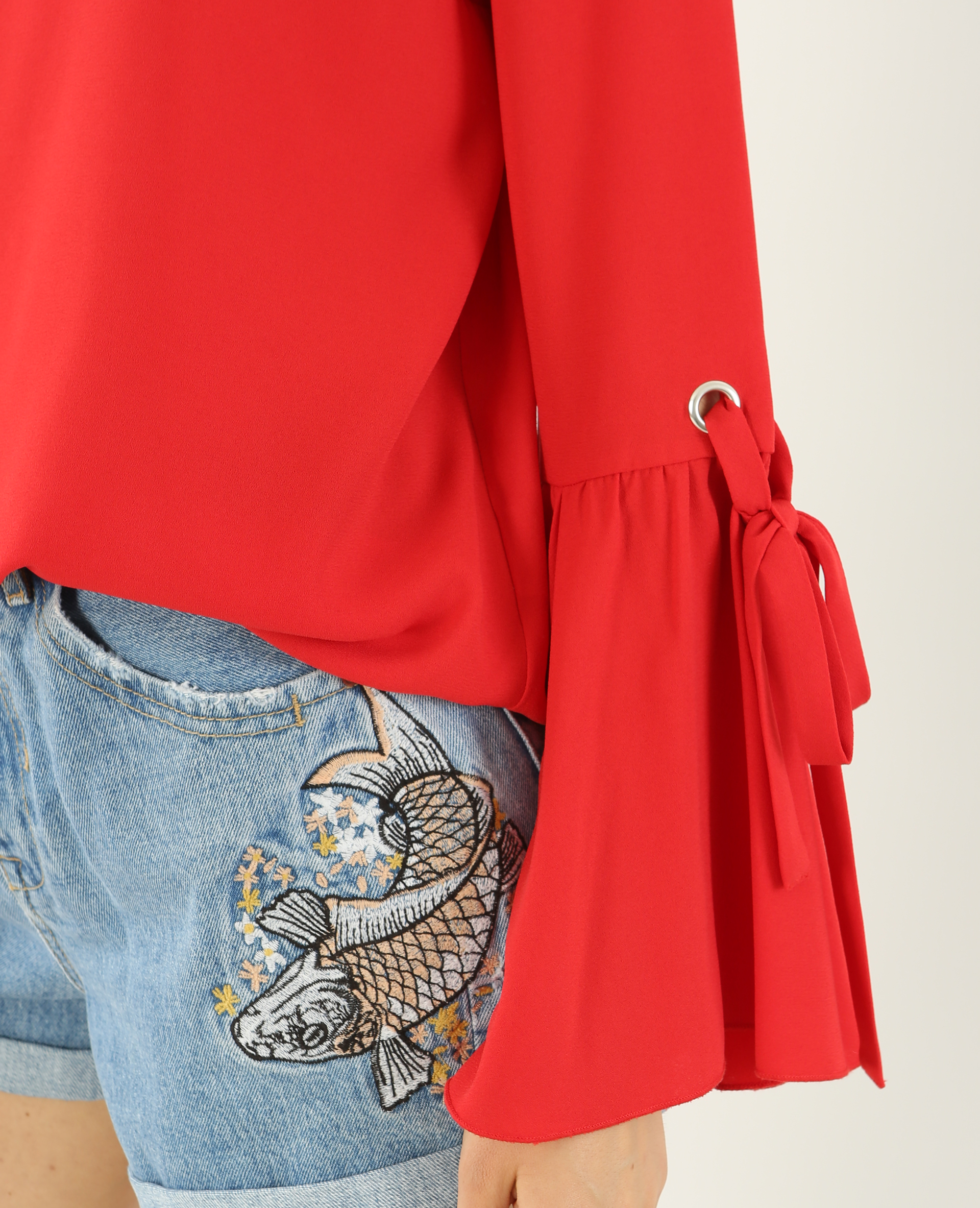 Blouse fluide manches pagode rouge - Pimkie