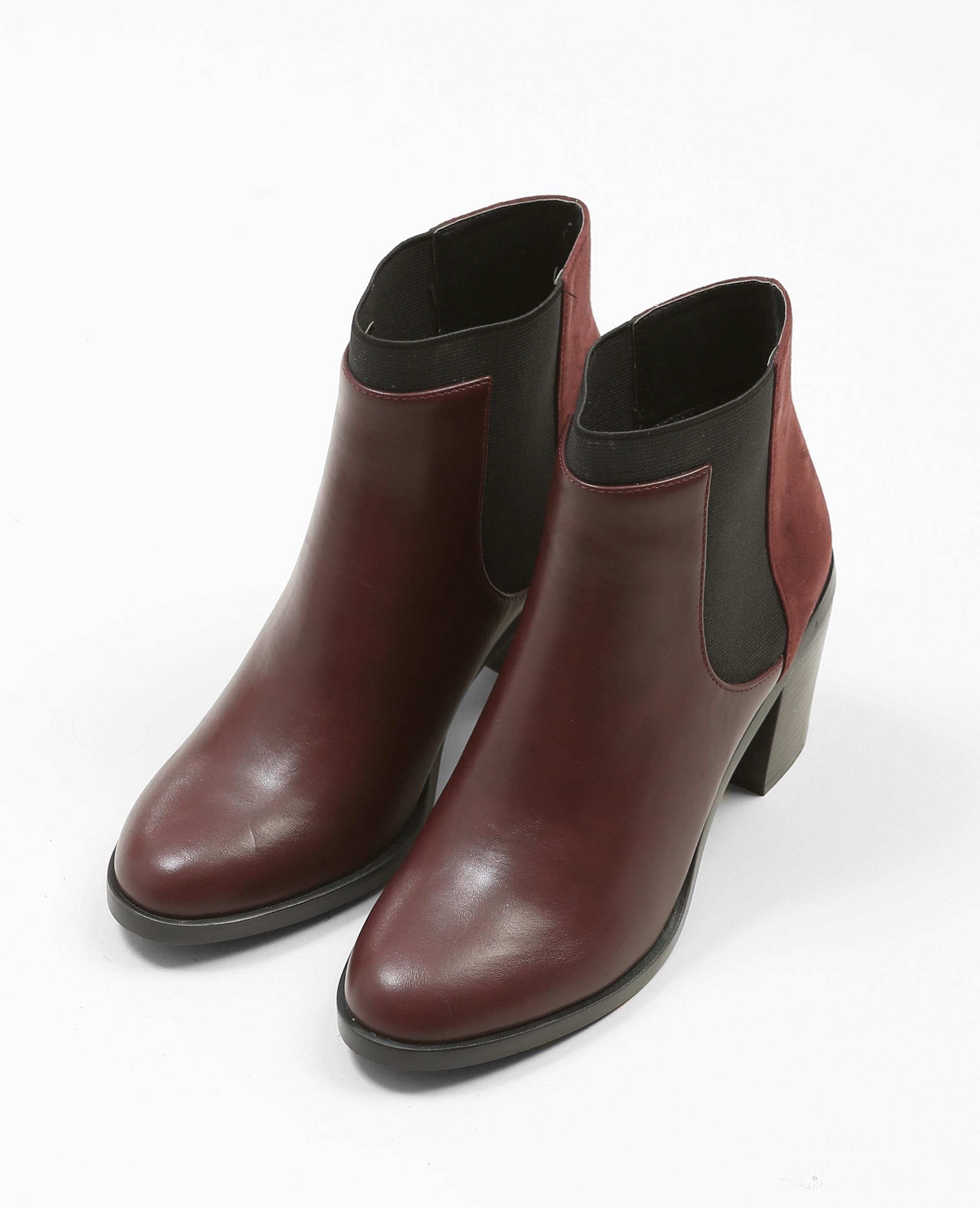 Boots à talons bimatière grenat - Pimkie