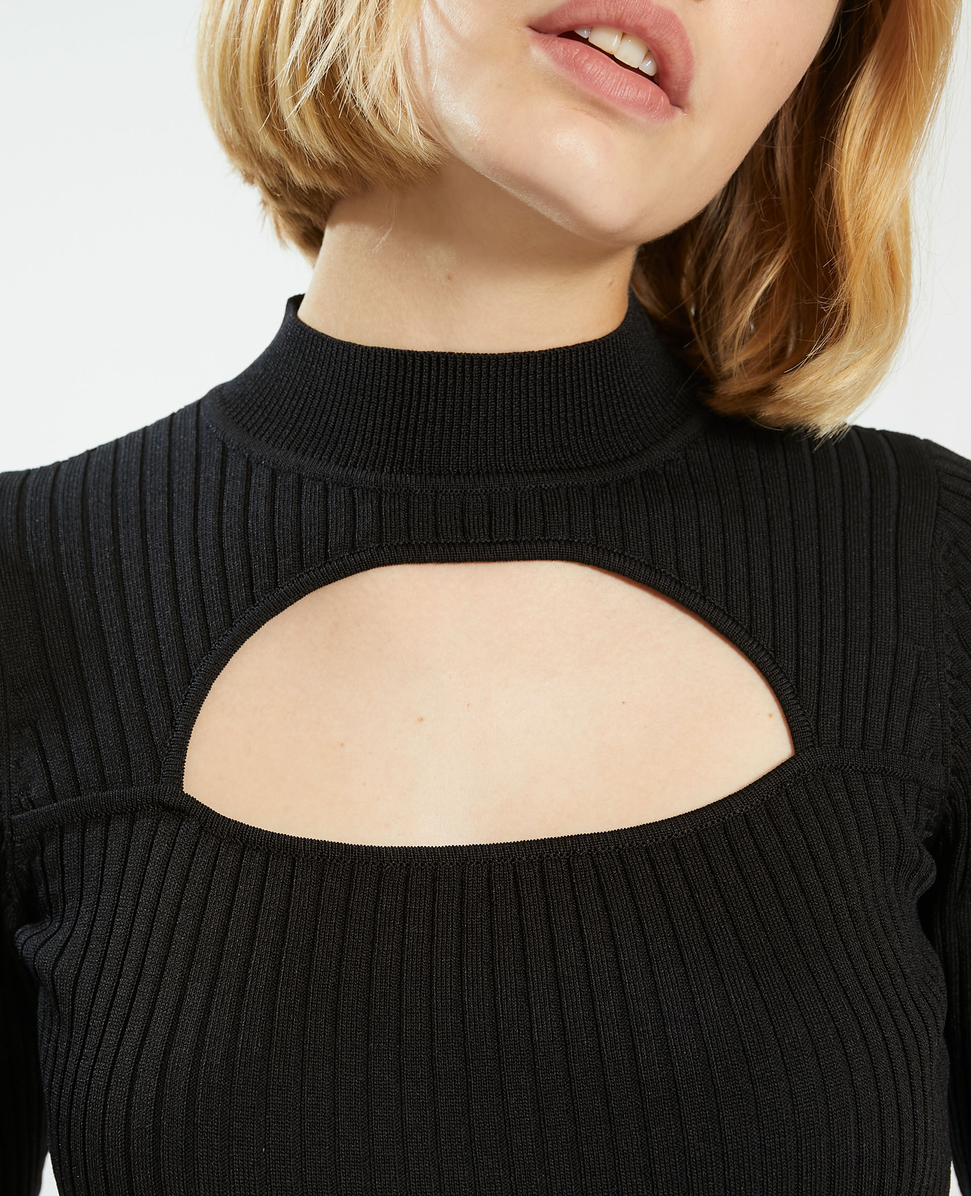 T-shirt côtelé avec découpe noir - Pimkie