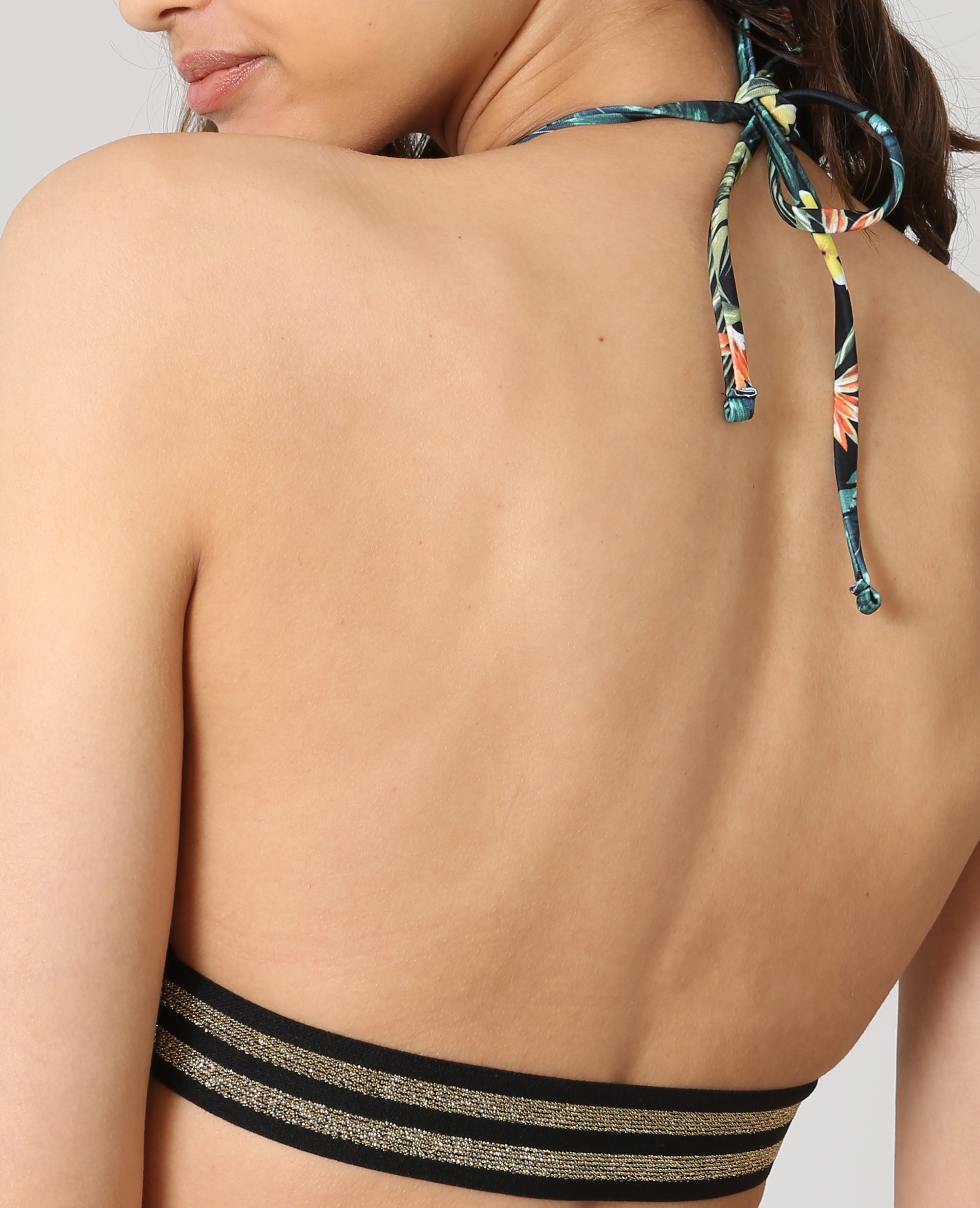 Haut de bikini tropical noir - Pimkie