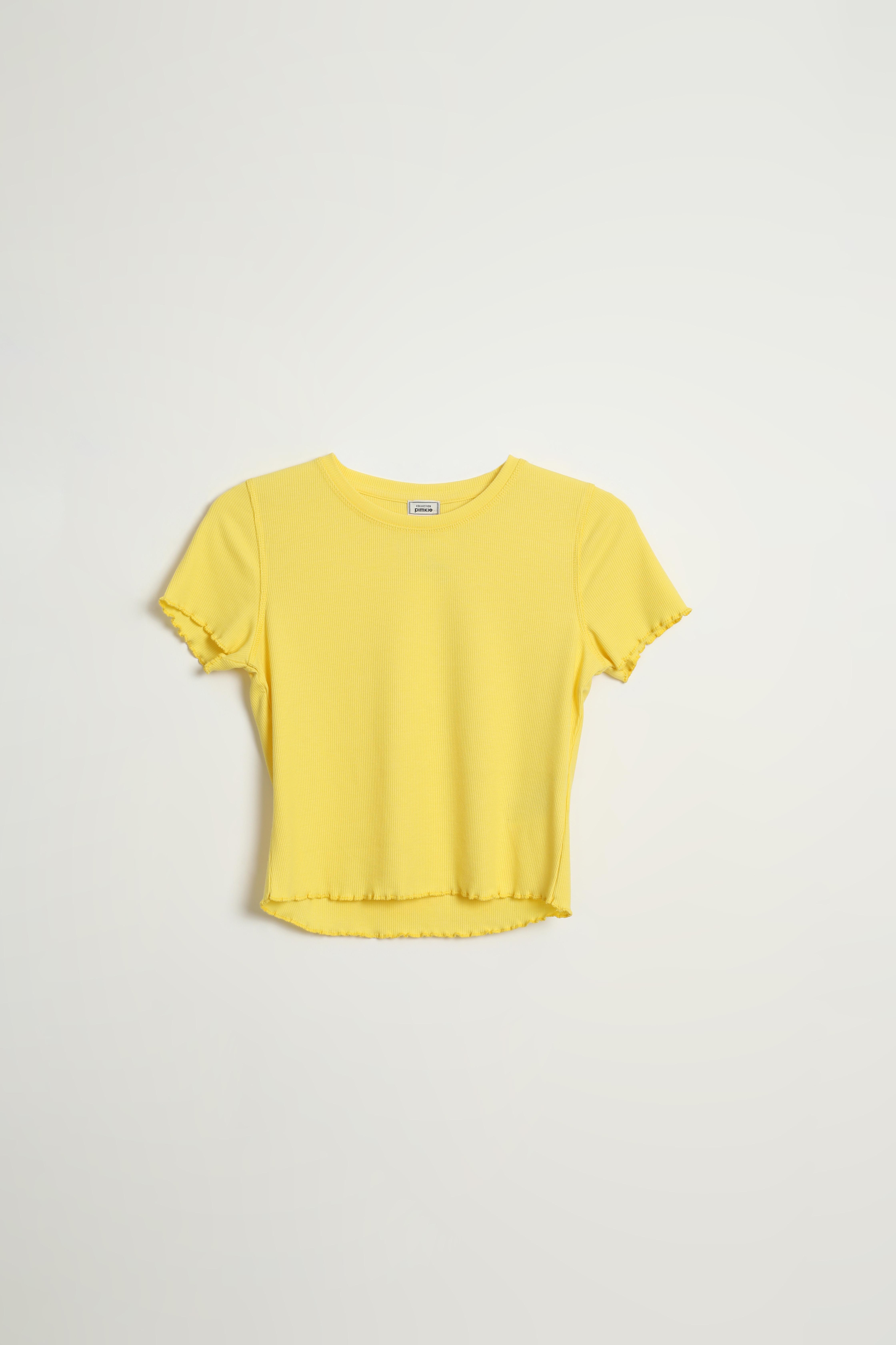 T-shirt roulotté jaune - Pimkie