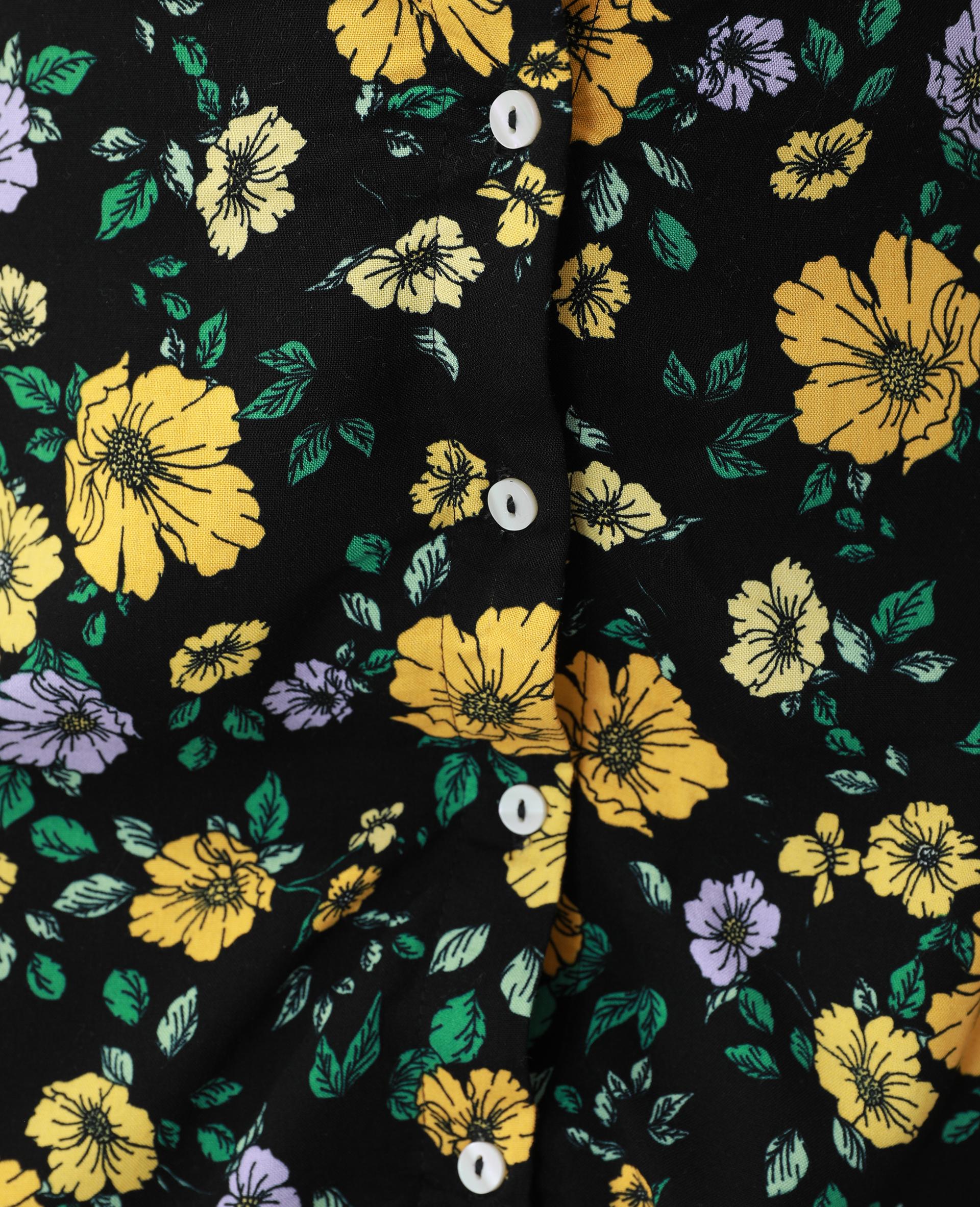 Jupe midi boutonnée et fleurie noir - Pimkie
