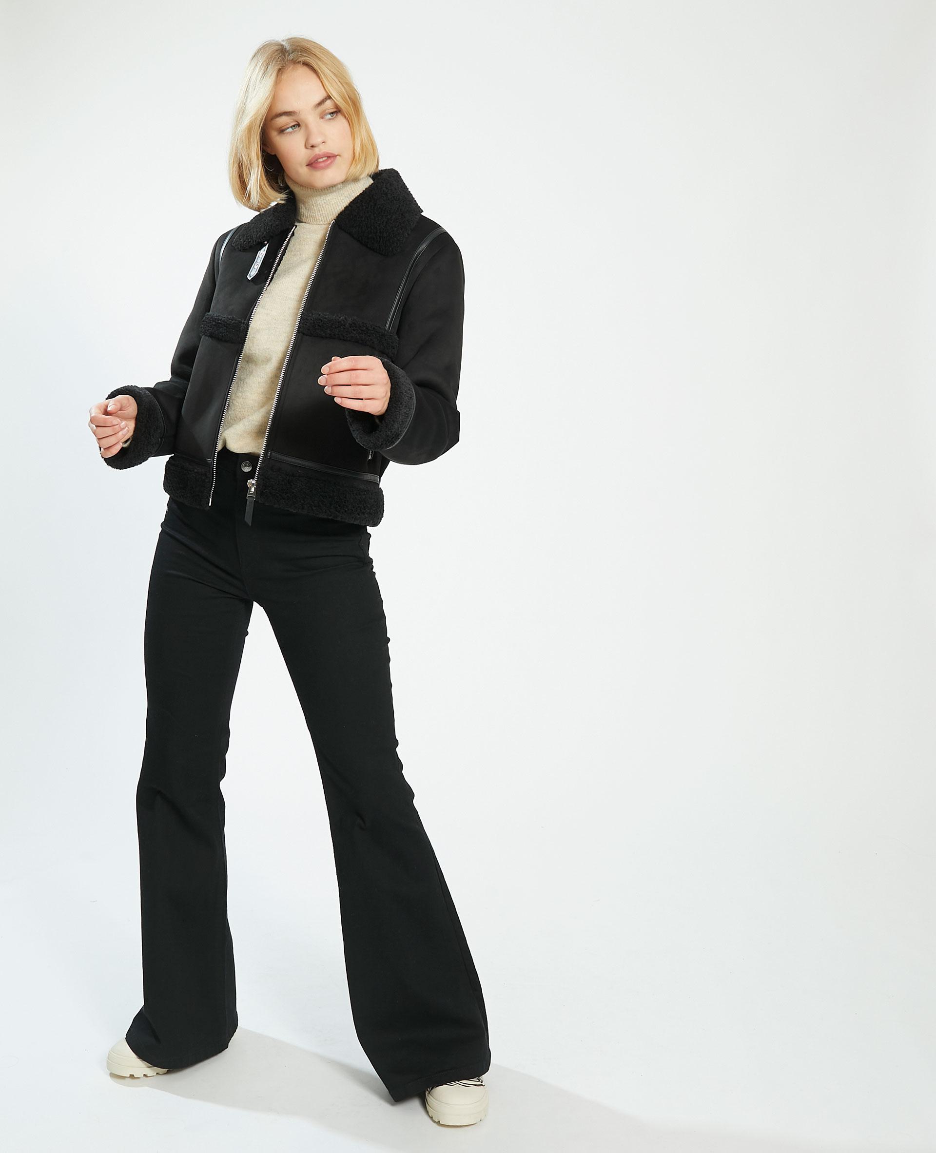 Manteau court en simili cuir et fausse fourrure noir - Pimkie