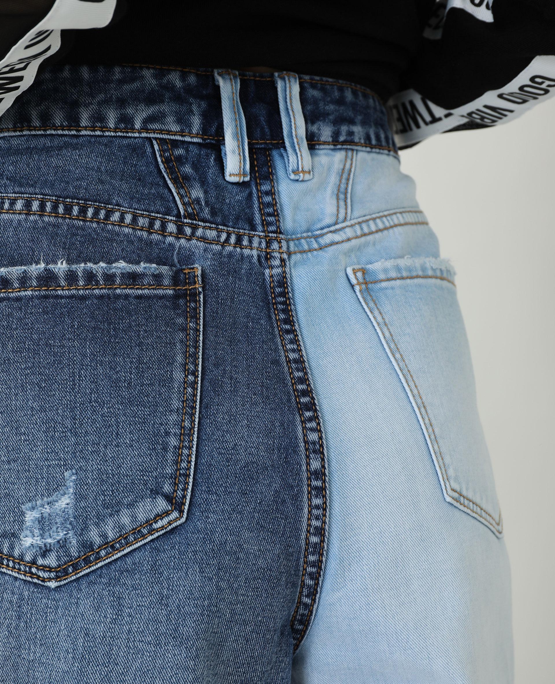 Jean straight bicolore bleu denim - Pimkie