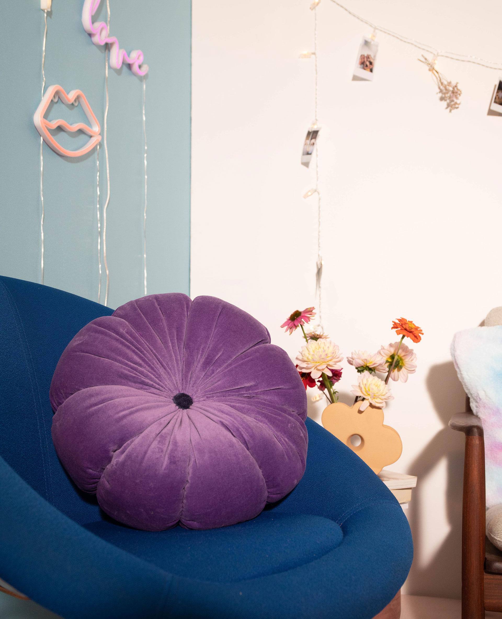 Coussin fleur violet - Pimkie