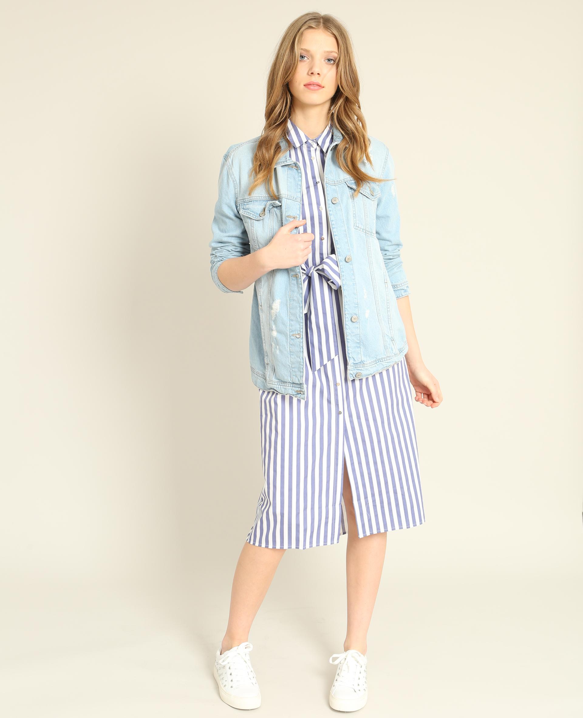 Robe chemise à manches courtes bleu - Pimkie