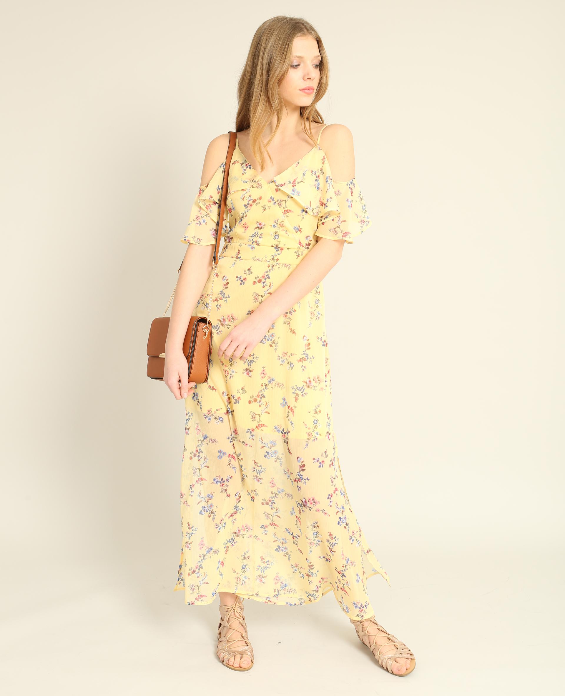 b72457b01de Robe longue fleurie jaune - 780862046E0A