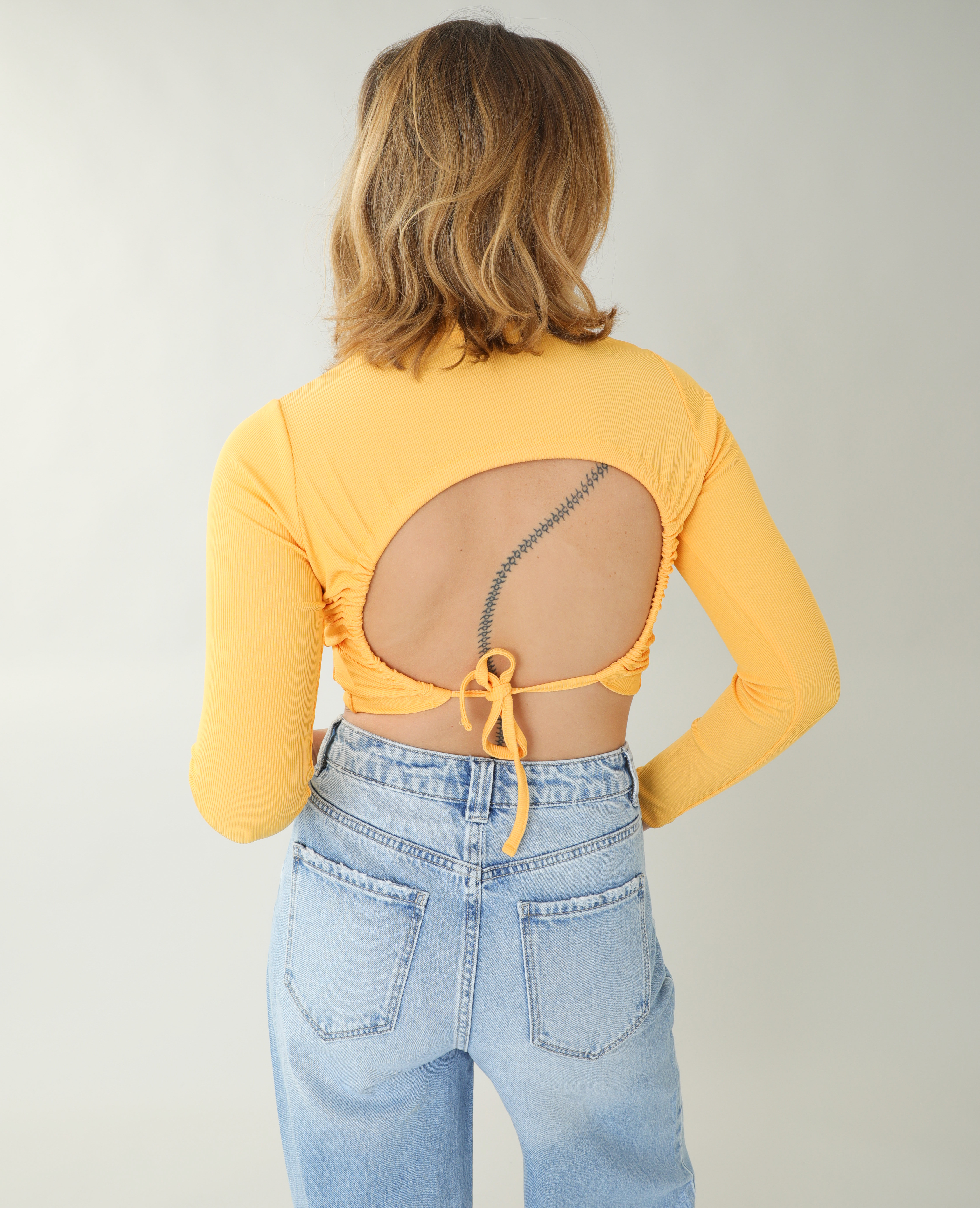 T-shirt côtelé dos nu orange - Pimkie