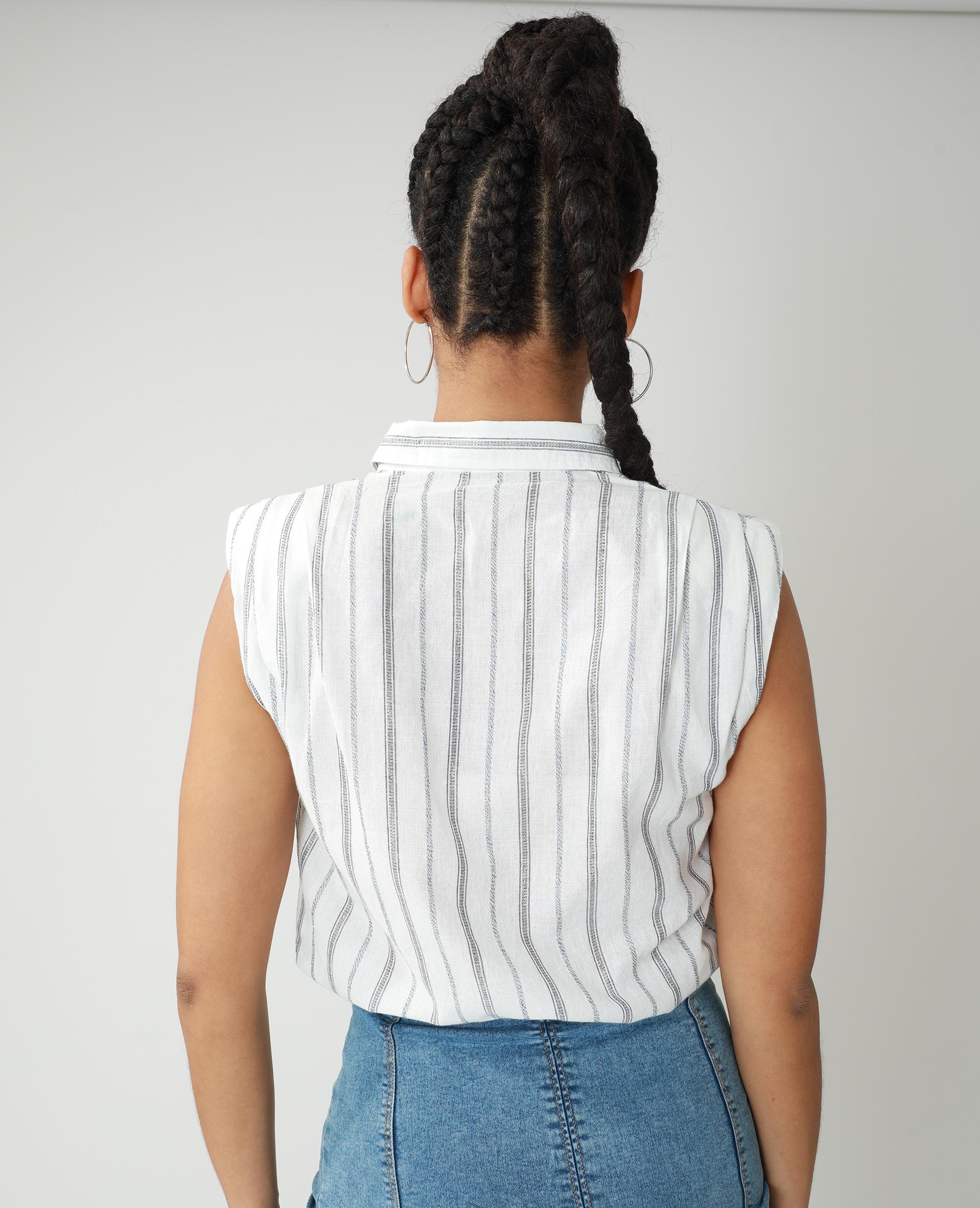 Chemise à épaulettes blanc cassé - Pimkie