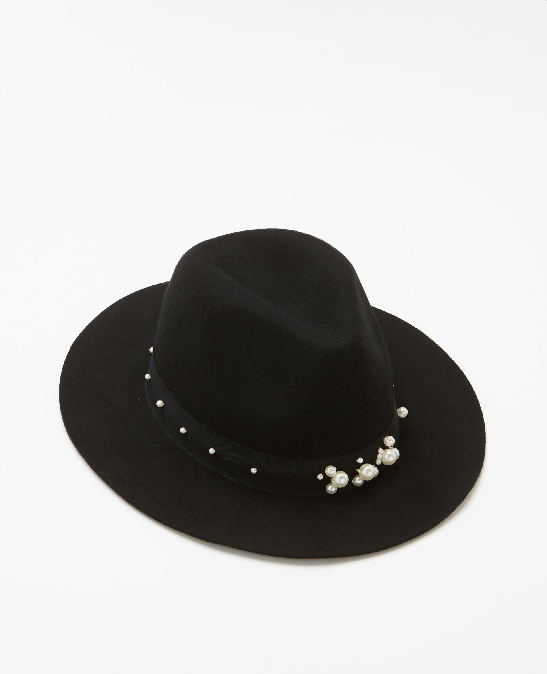 Fedora à perles noir - Pimkie