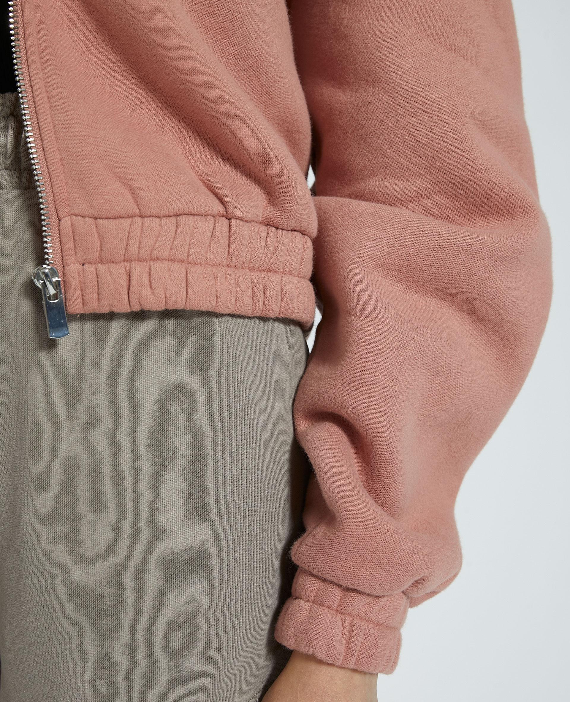 Sweat à capuche zippé molleton vieux rose - Pimkie